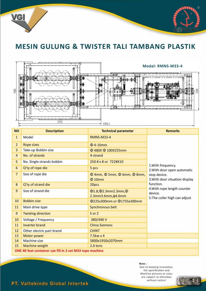 jual mesin, harga mesin, distributor mesin, jual mesin karet, daur ulang plastik MESIN GULUNG & TWISTER TALI TAMBANG PLASTIK 4
