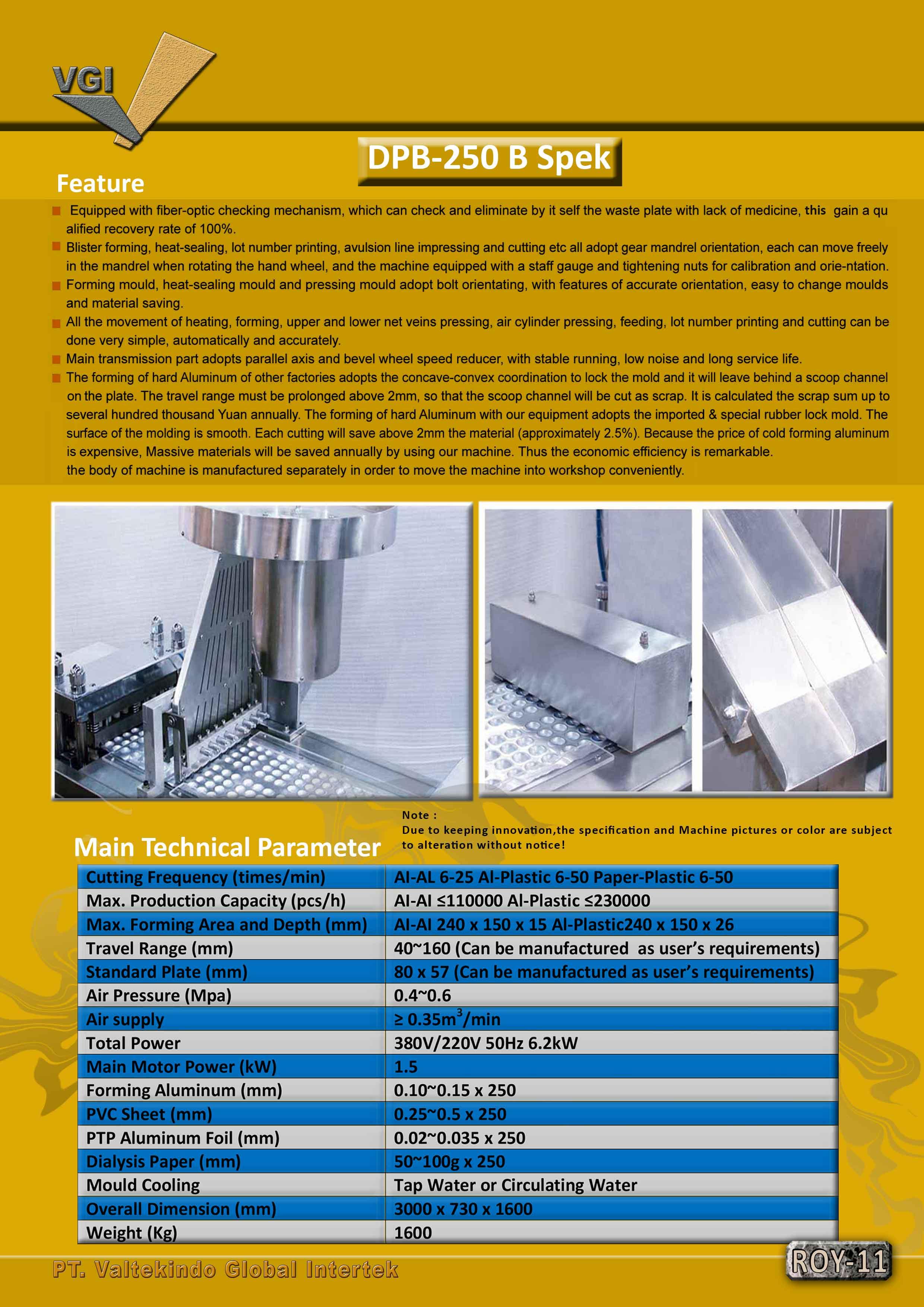 jual mesin Alumunium Blister Packing Machine spek4 Alumunium Blister Packing Machine spek4
