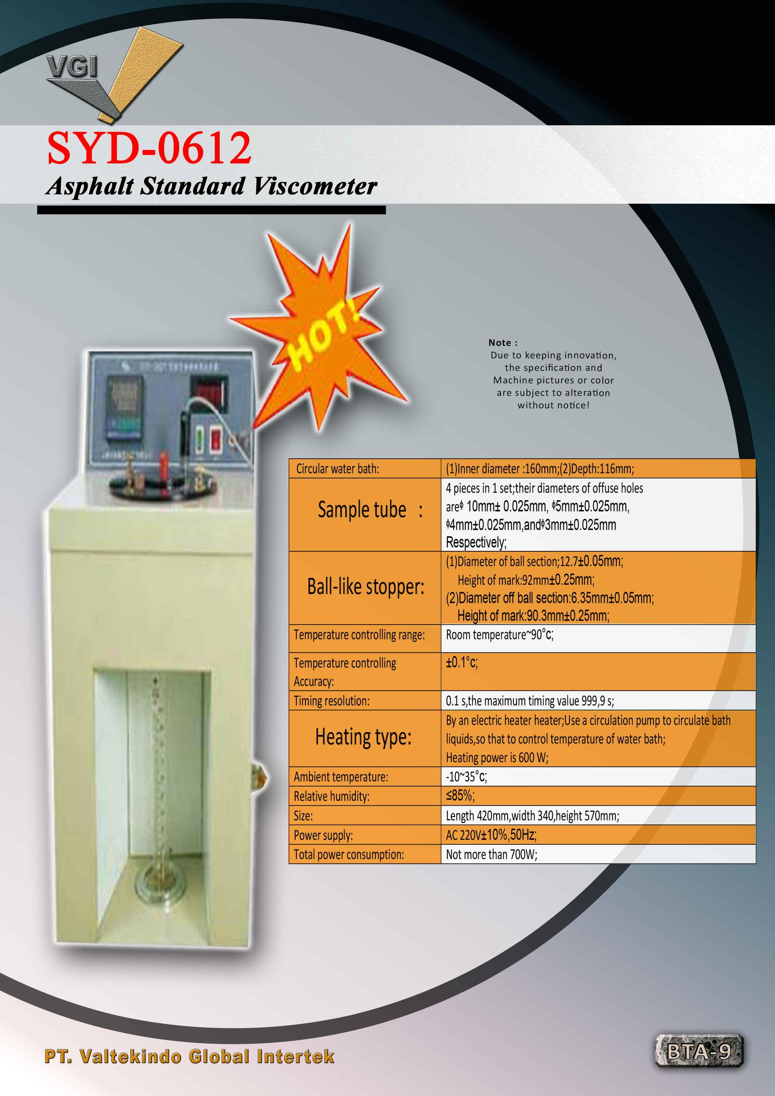 jual mesin Asphalt Standard Viscometer Asphalt Standard Viscometer