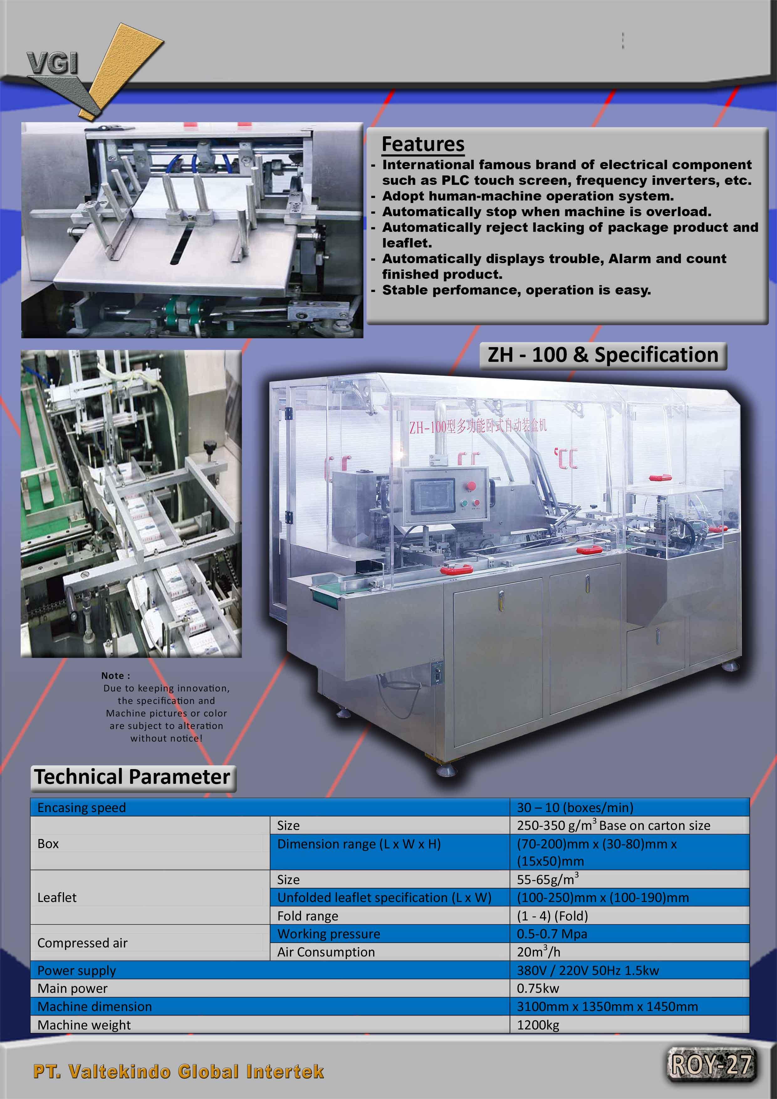 jual mesin Automatic Cartoning Machine spek Automatic Cartoning Machine spek