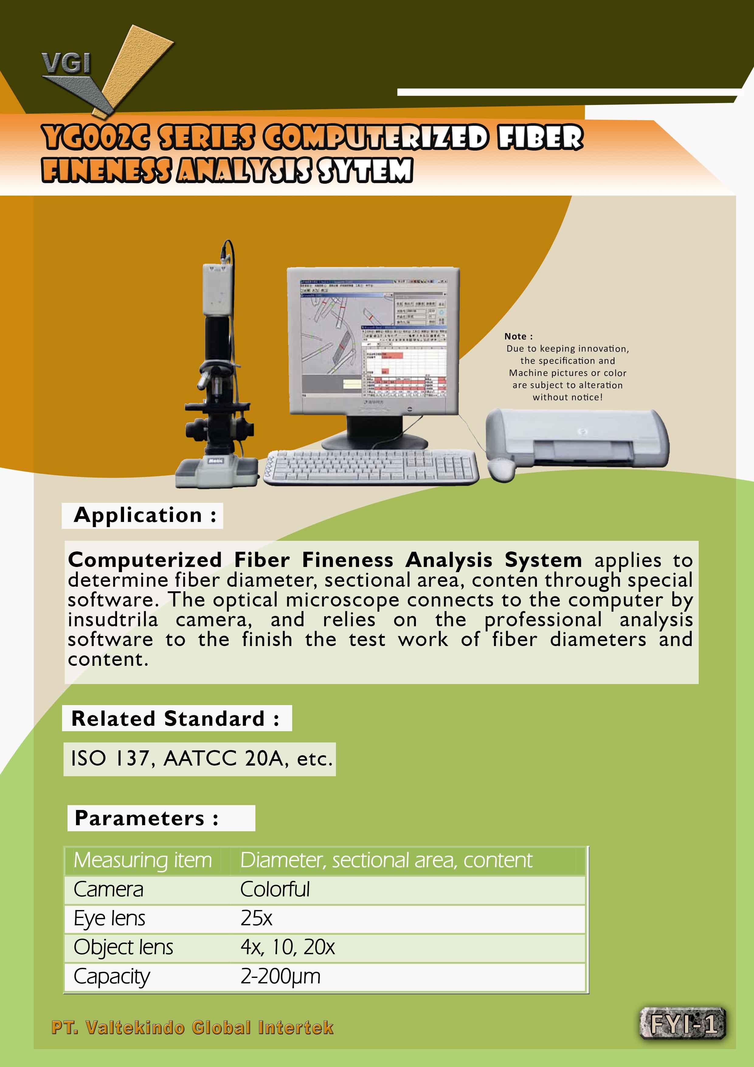 jual mesin Computerized Fiber Fineness analyis System  Computerized Fiber Fineness analyis System