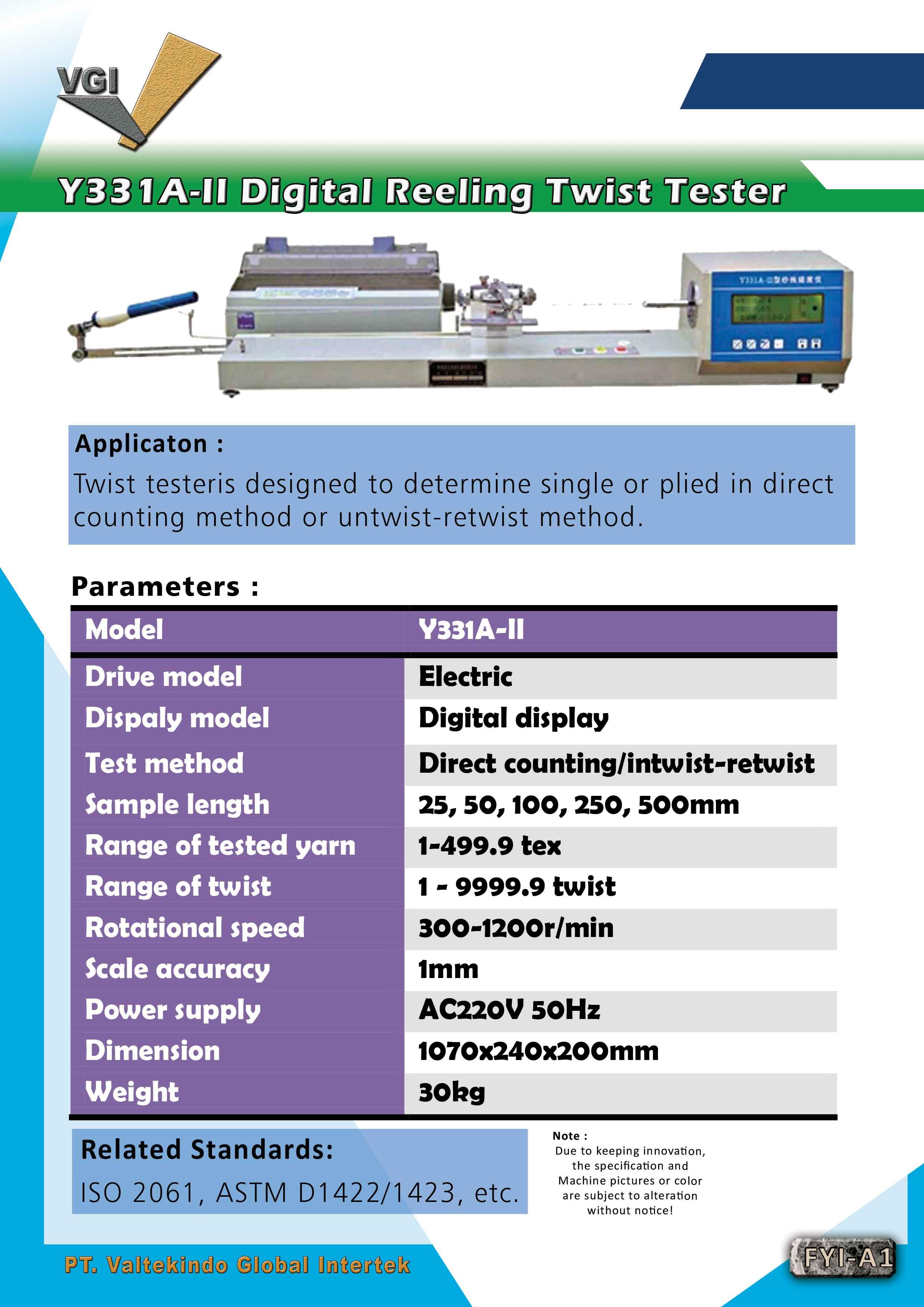 jual mesin Digital Reeling Twist Tester Digital Reeling Twist Tester