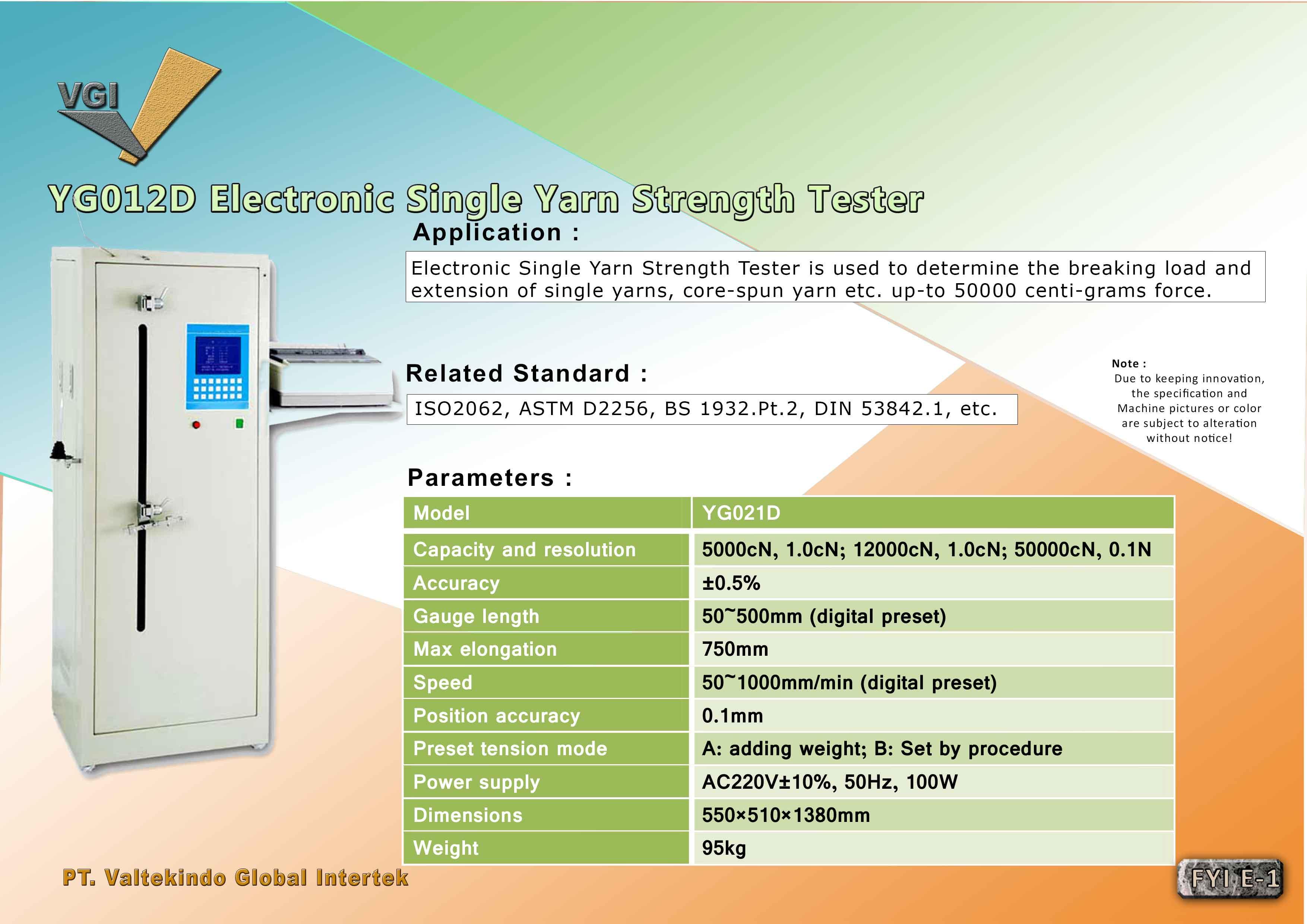 jual mesin Electronic Single Yarn Strength Tester  Electronic Single Yarn Strength Tester
