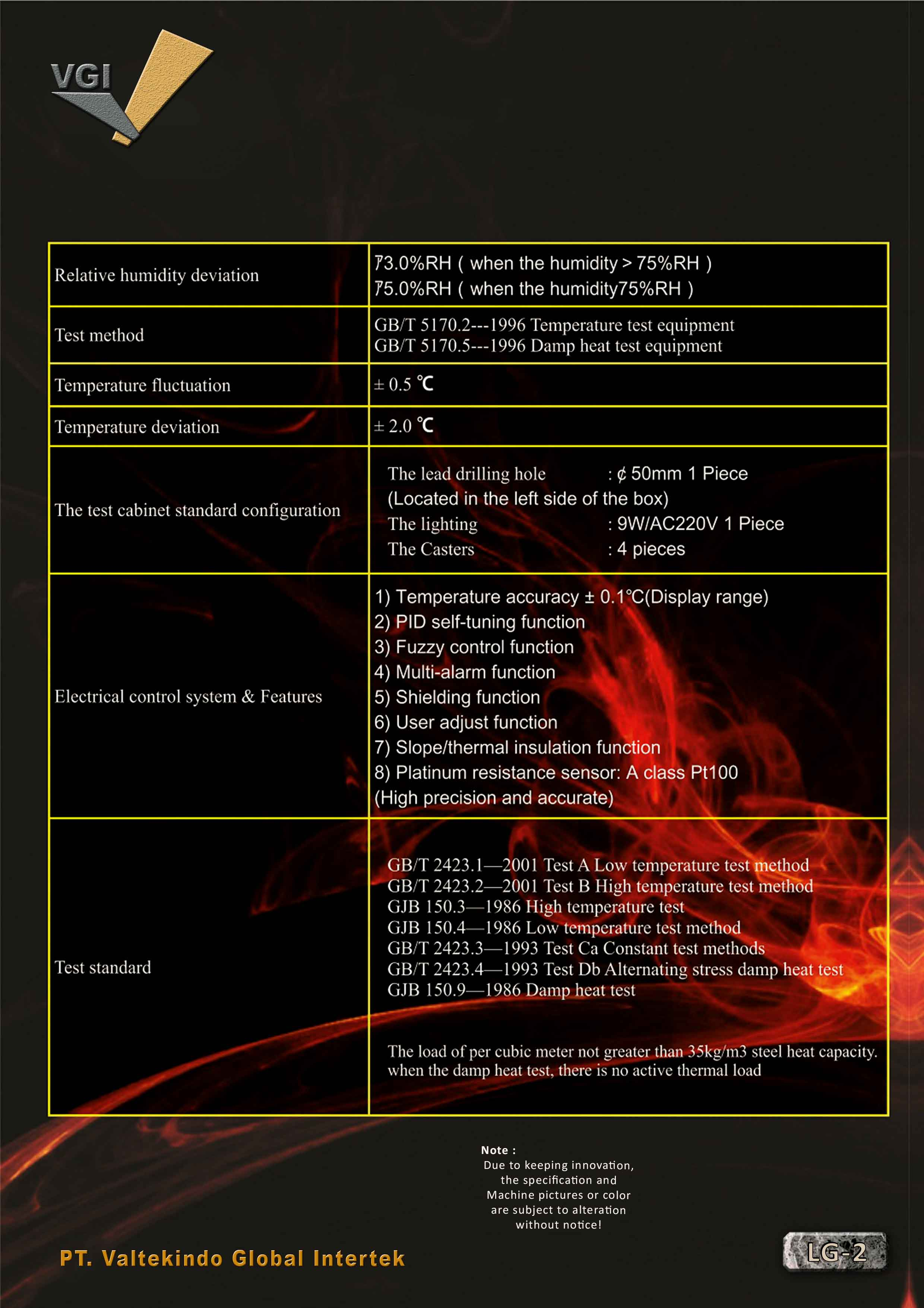 jual mesin Environmental Chamber Specification Environmental Chamber Specification