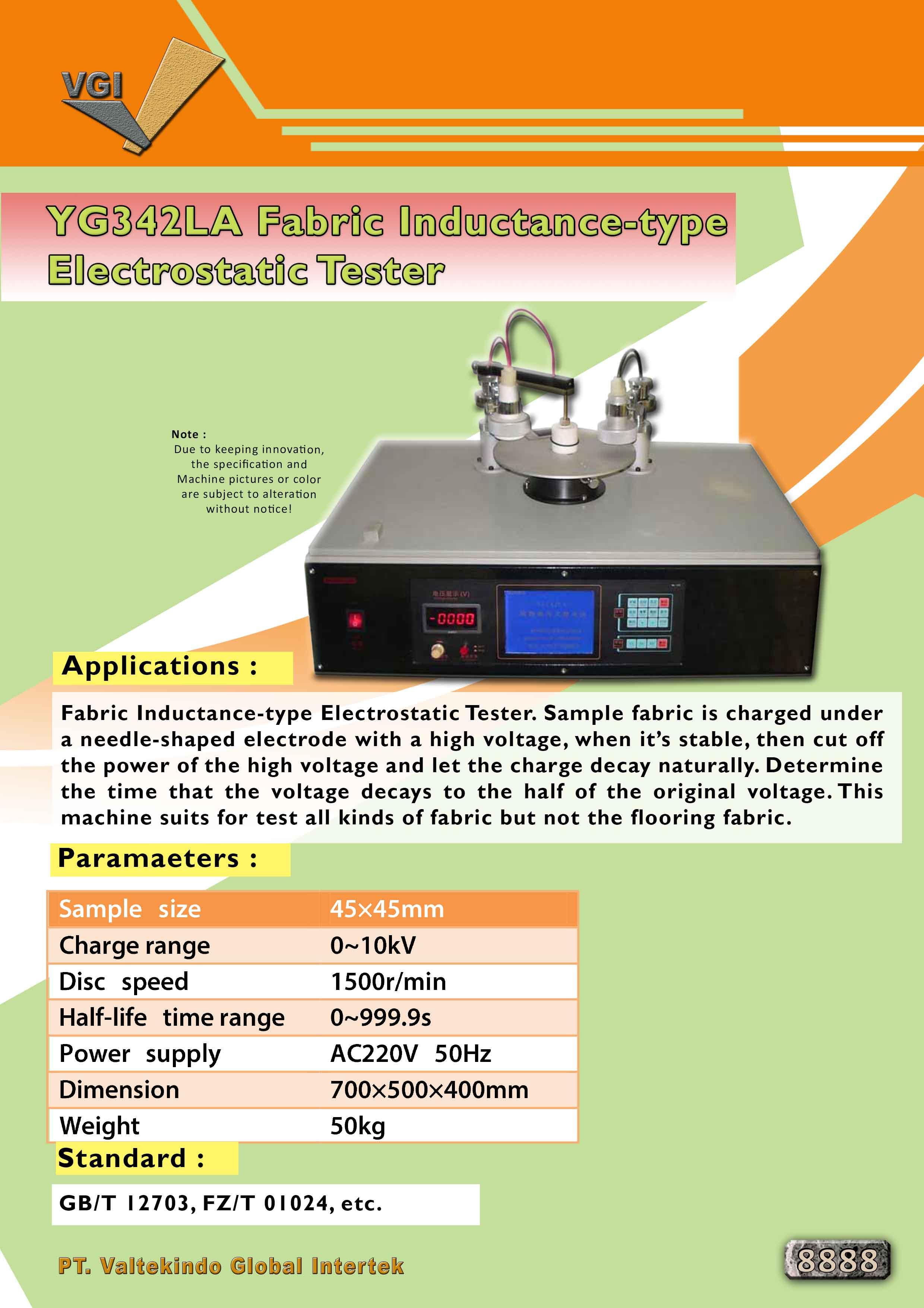 jual mesin Fabric Industance Type Electrostatic Tester  Fabric Industance Type Electrostatic Tester