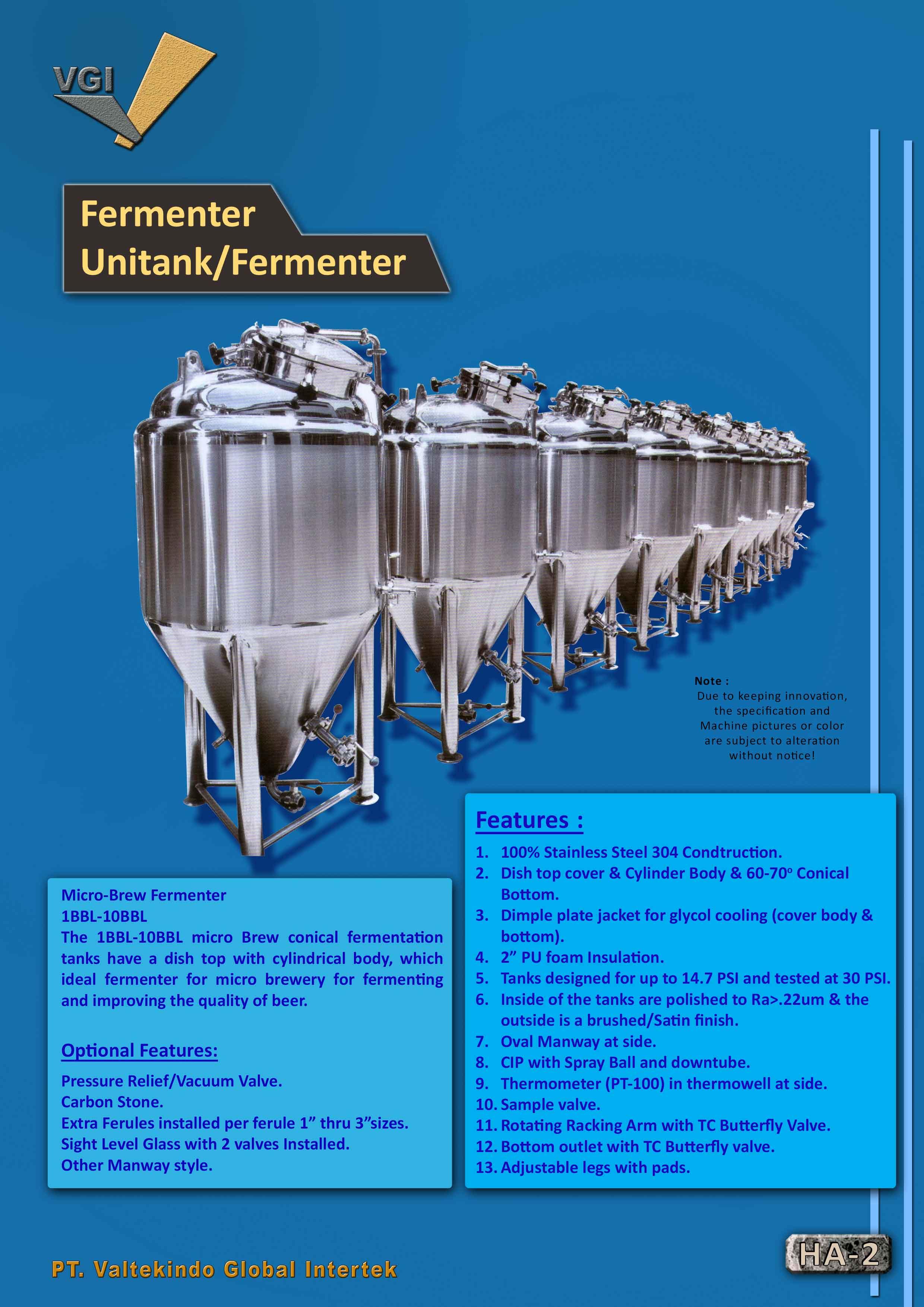 jual mesin Fermenter Unitank2 Fermenter Unitank2