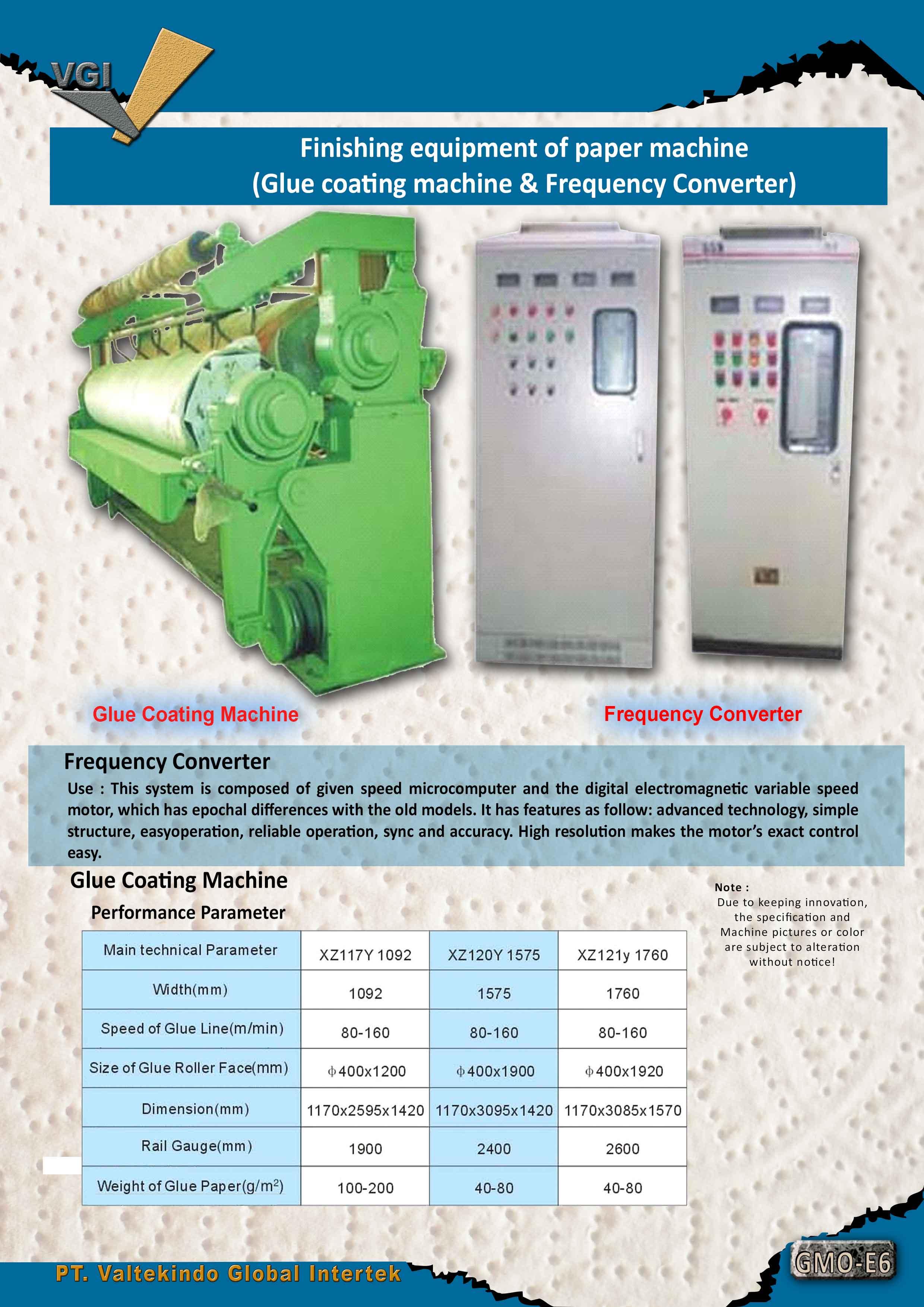 jual mesin Finishing equipment of paper machine (Glue coating machine & Frequency Converter) Finishing equipment of paper machine (Glue coating machine & Frequency Converter)