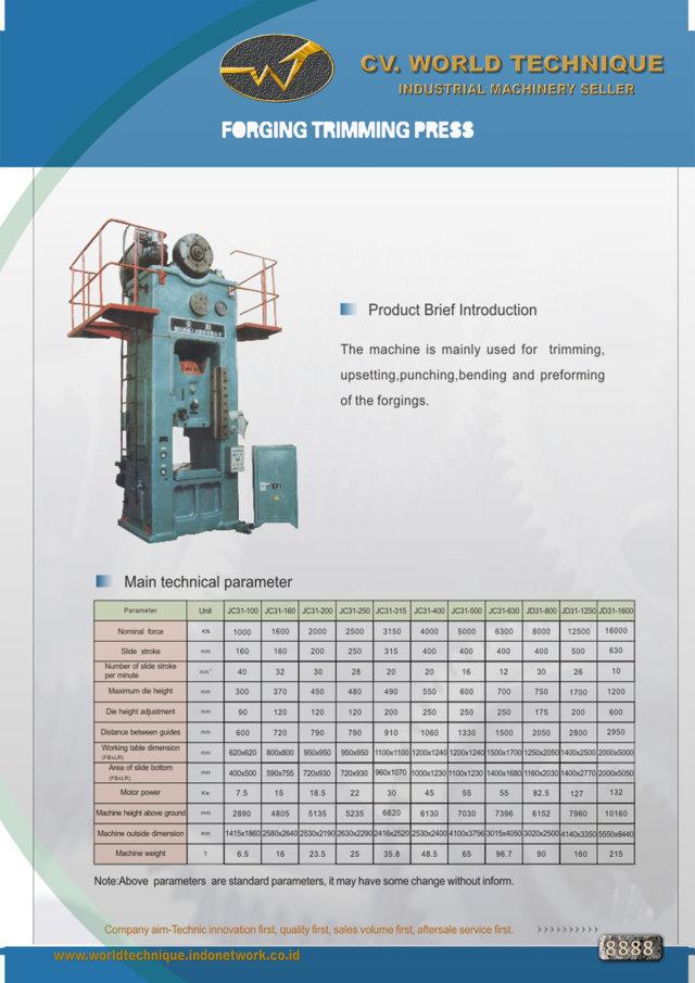 jual mesin Forging Trimming Press Forging Trimming Press