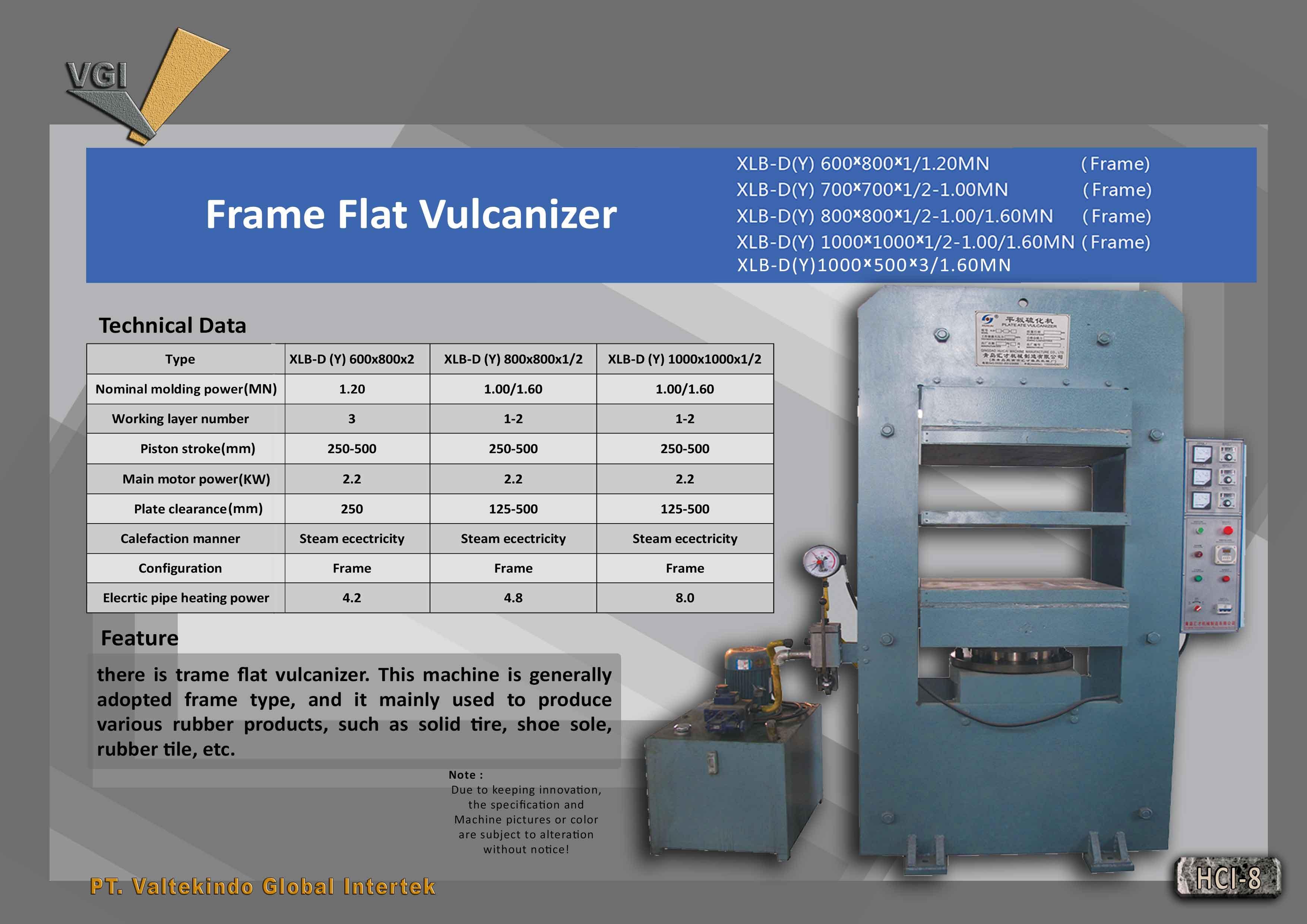 jual mesin Frame Flat Vulcanizer 2 Frame Flat Vulcanizer 2