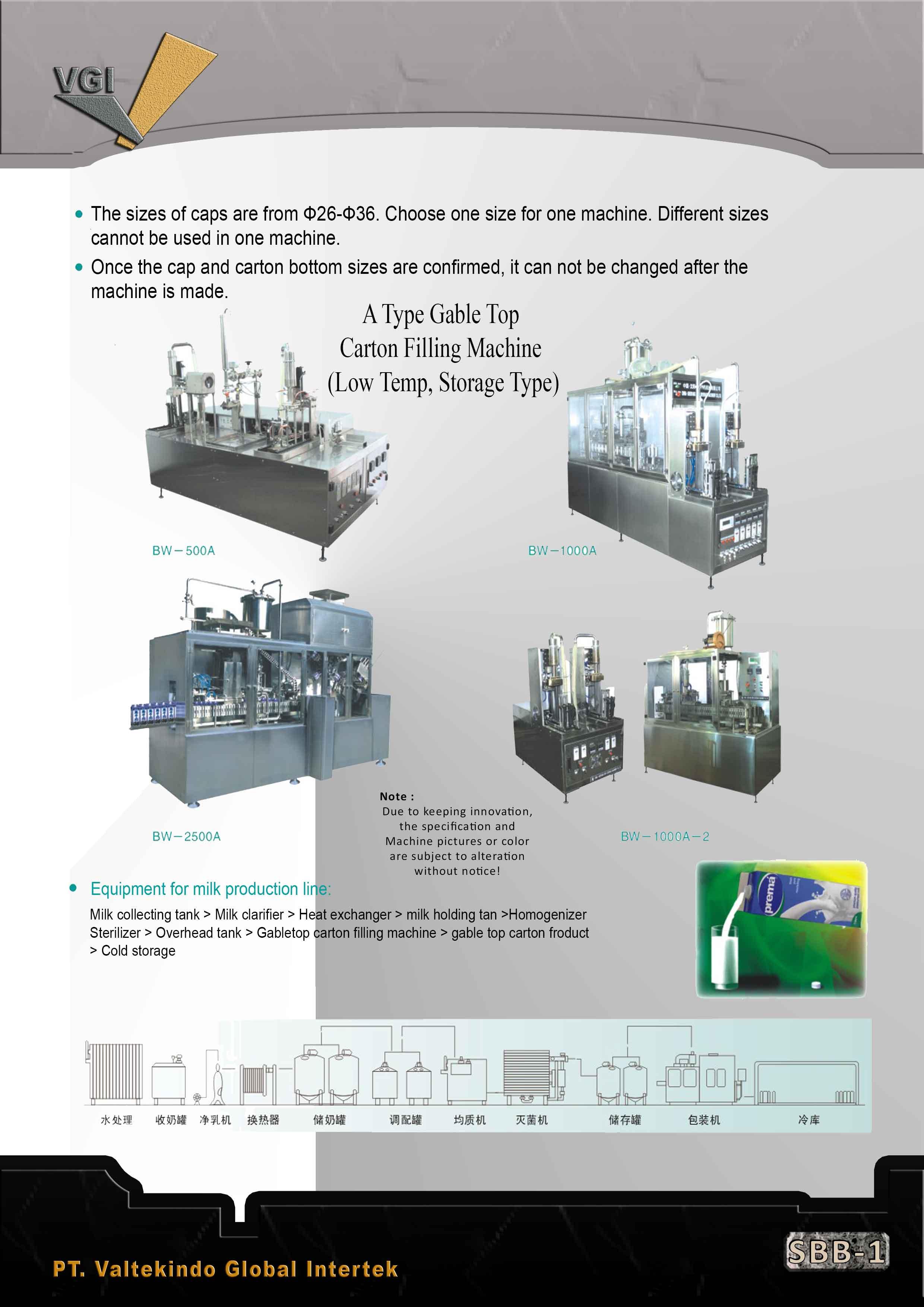 jual mesin Gable Top Carton Filling Machine (Low Temp, Storage Type) Gable Top Carton Filling Machine (Low Temp, Storage Type)