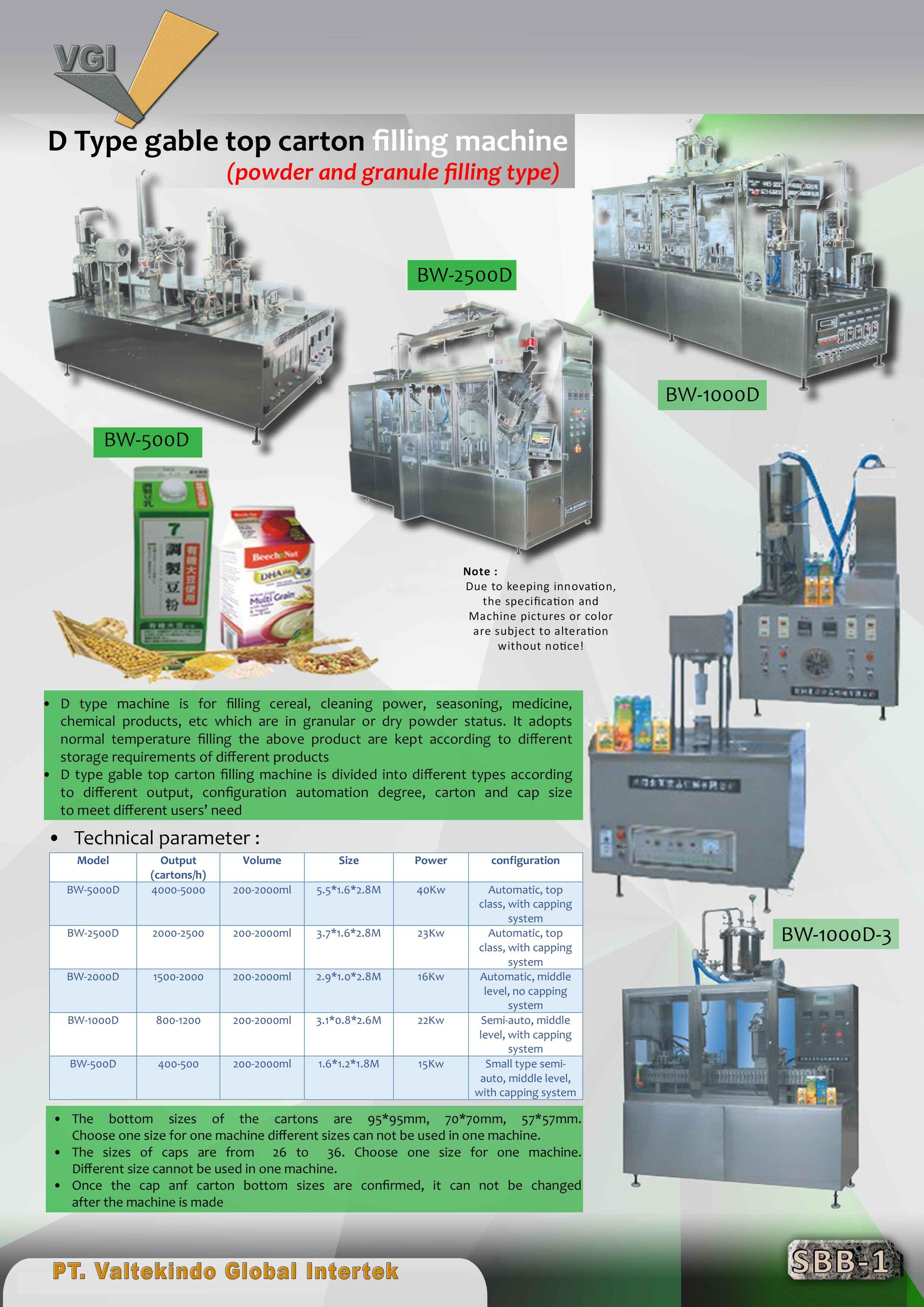 jual mesin Gable top carton filling machine(powder and granule filling type) Gable top carton filling machine(powder and granule filling type)