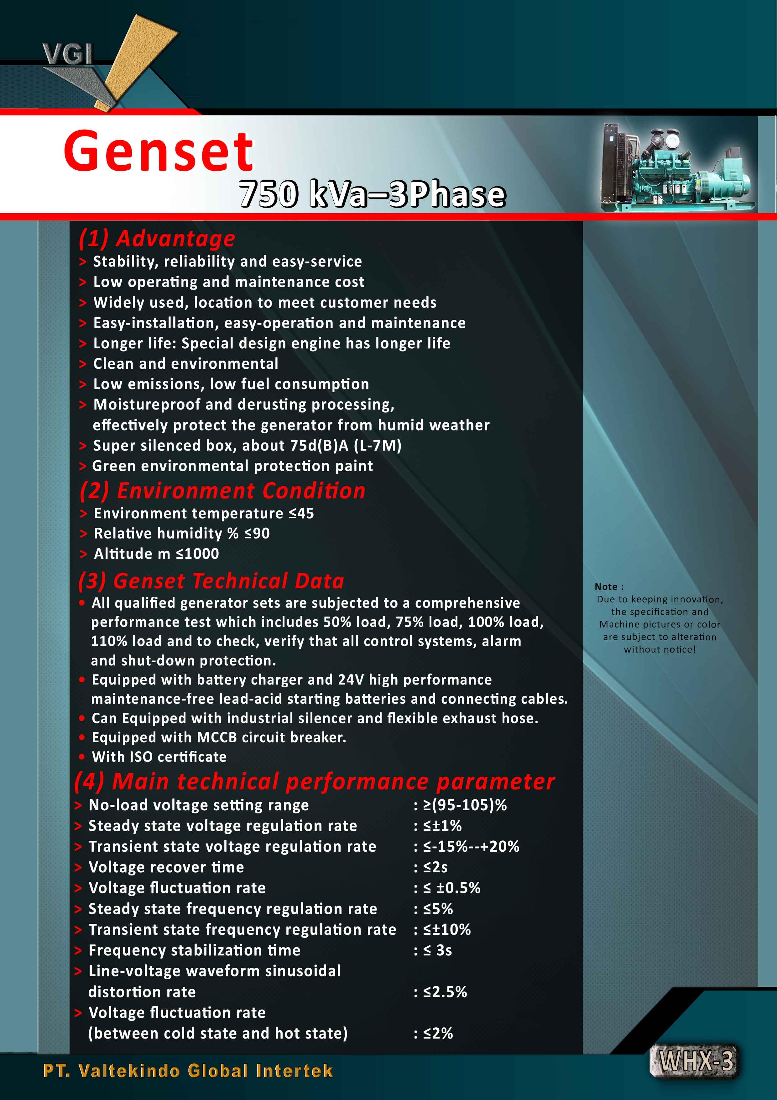 jual mesin Genset 750 kVa Genset 750 kVa