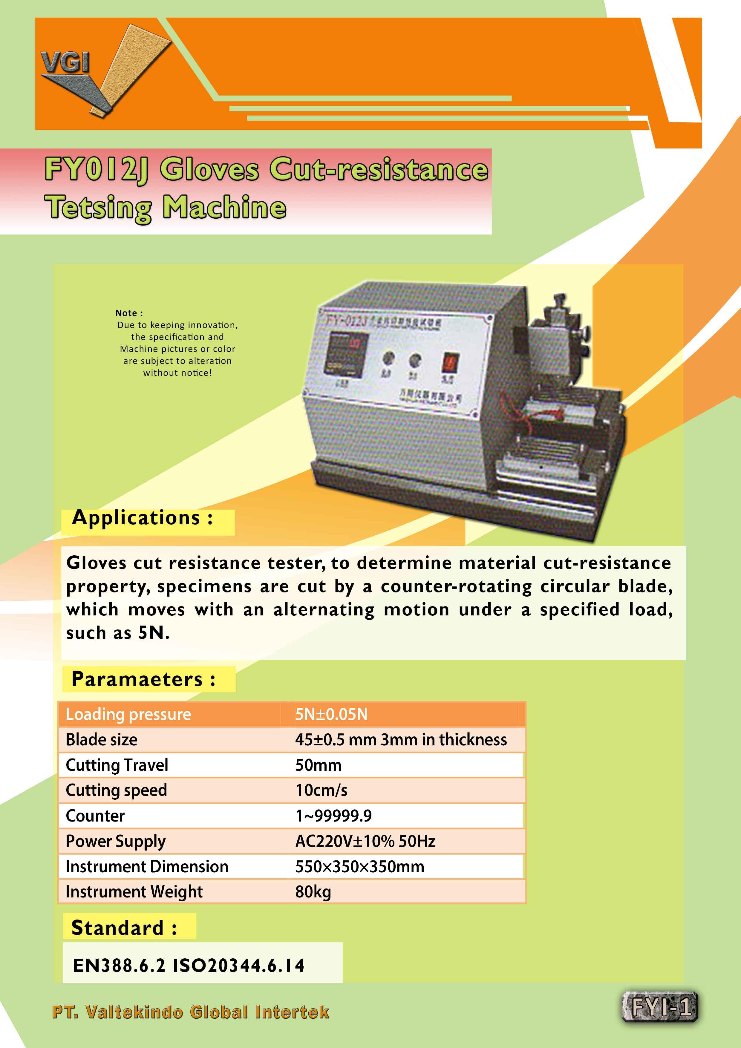 jual mesin Gloves Cut-resistance Testing Machine  Gloves Cut-resistance Testing Machine