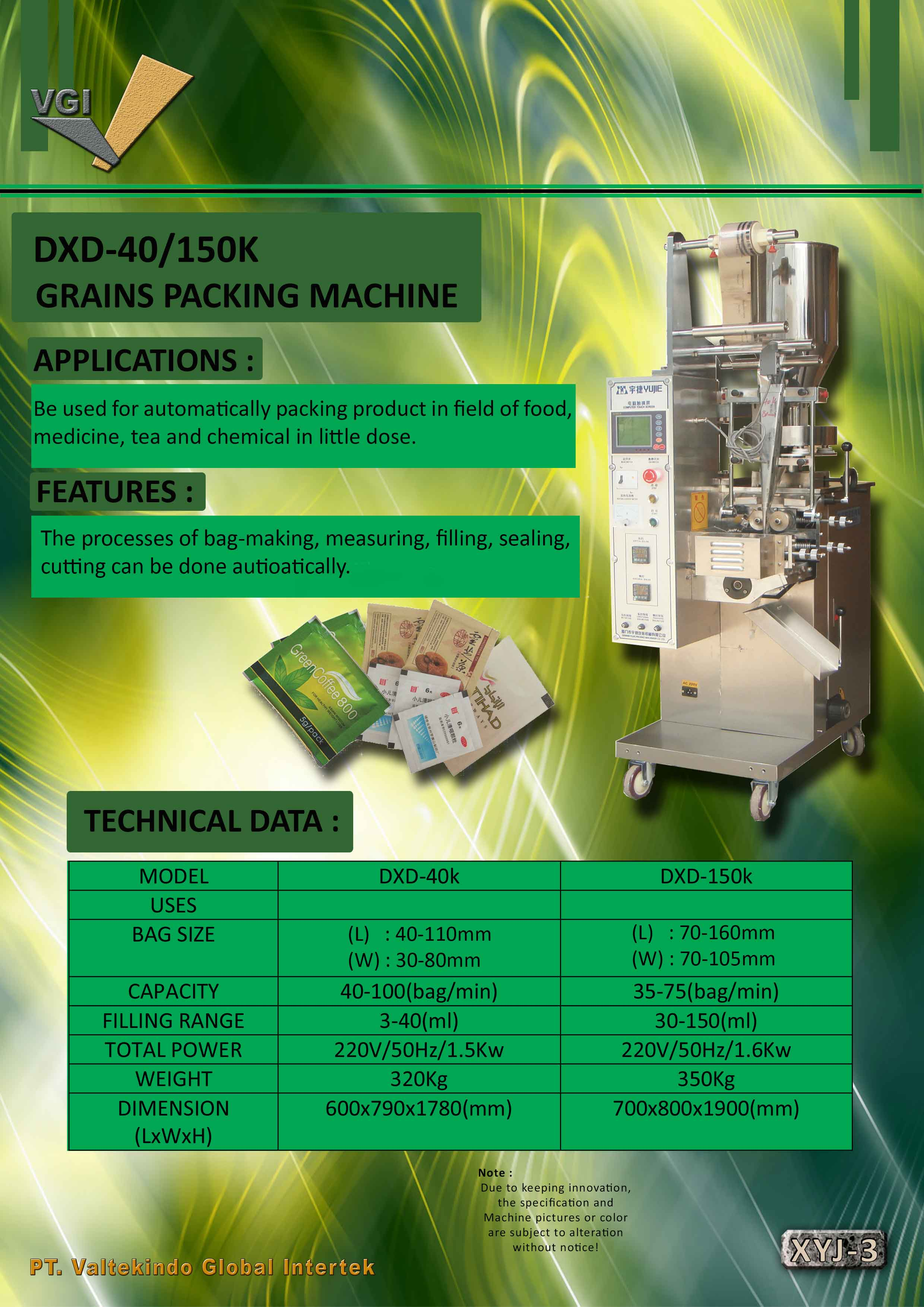 jual mesin Grains Packing Machine Grains Packing Machine