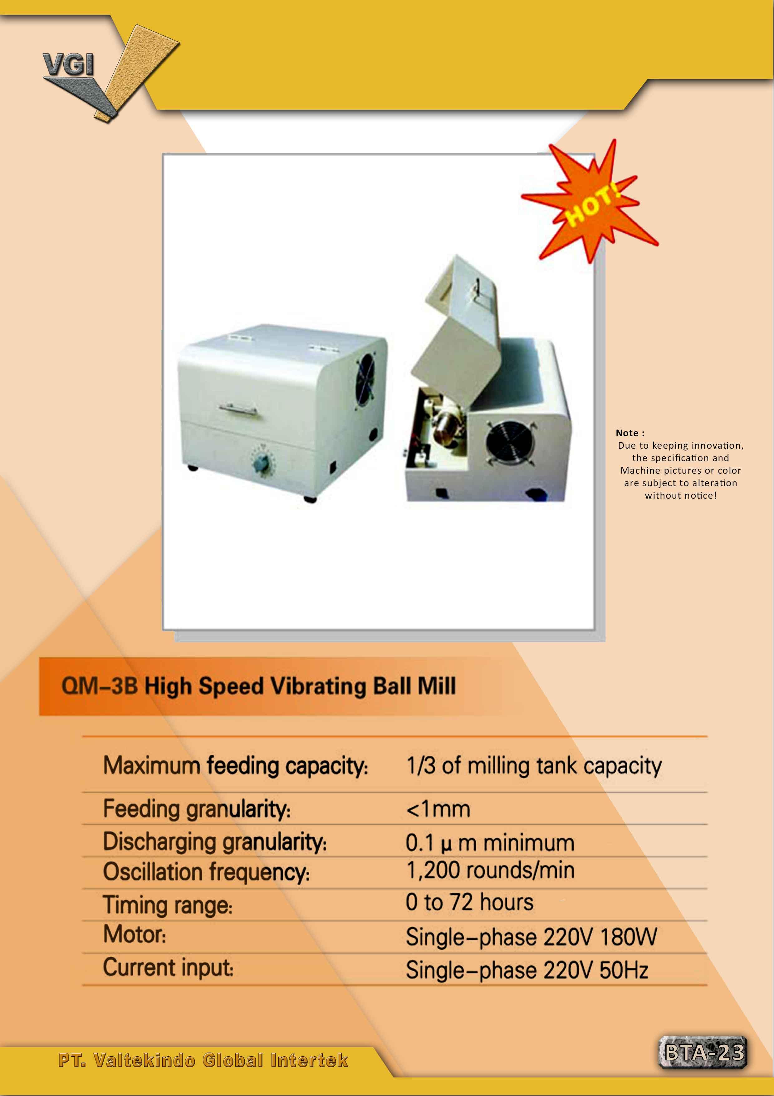 jual mesin High Speed Vibrating  Ball Mill High Speed Vibrating  Ball Mill