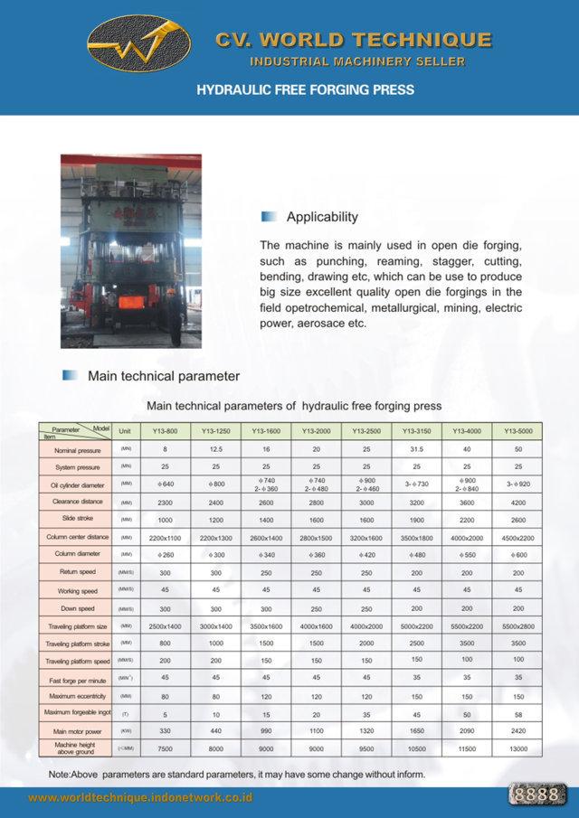 jual mesin Hydraulic Free forging press Hydraulic Free forging press