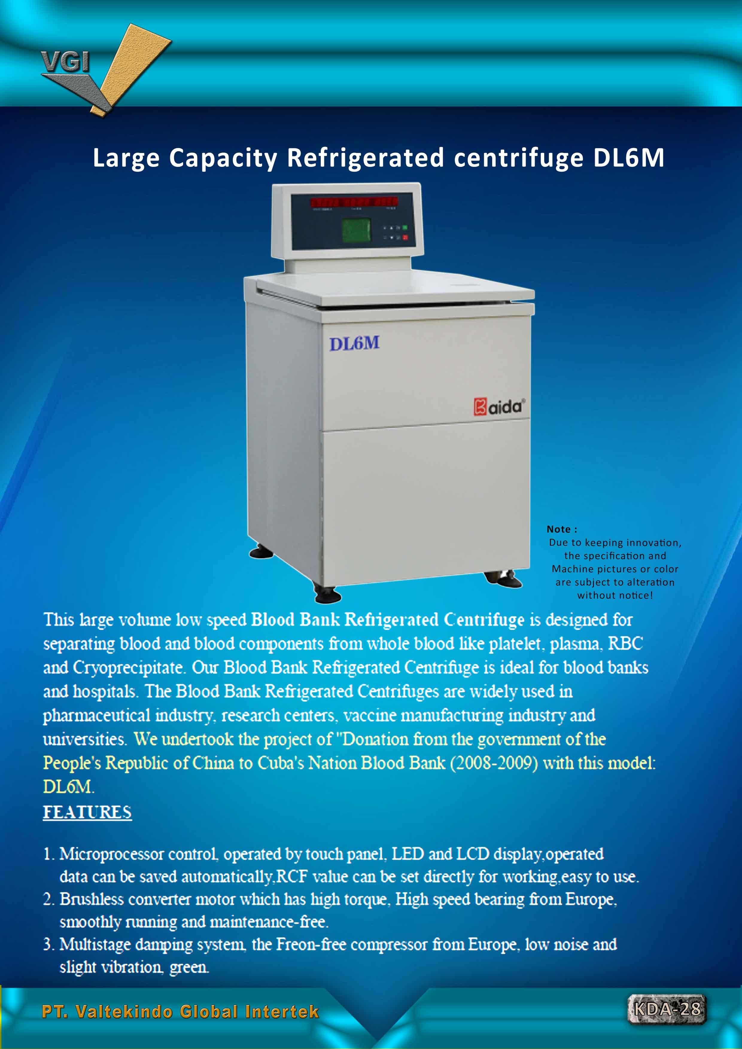 jual mesin, harga mesin, distributor mesin, jual mesin karet, daur ulang plastik Large Capacity Refrigerated Centrifuge Large Capacity Refrigerated Centrifuge