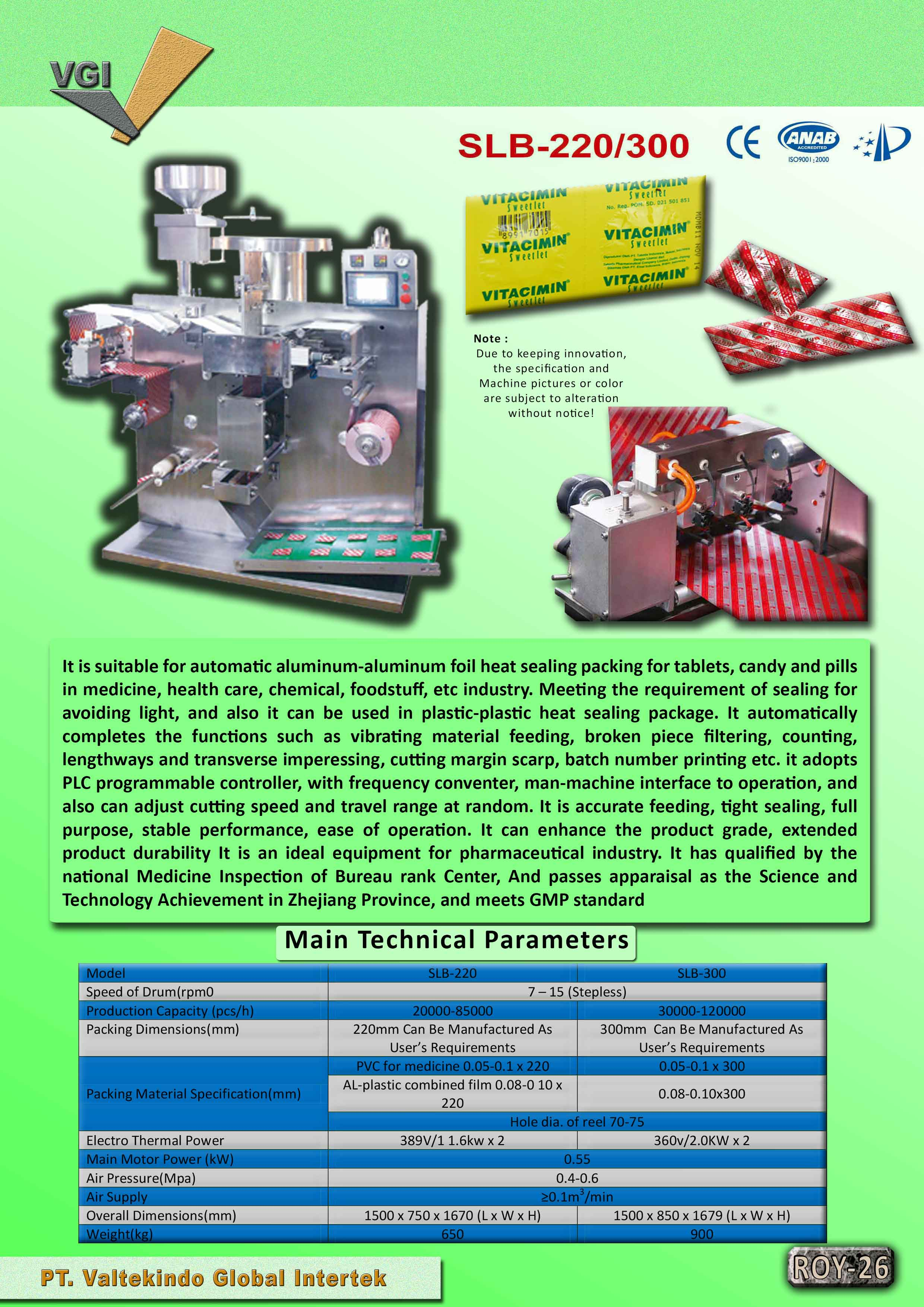 jual mesin Main Technical & Speck of Machinery  Main Technical & Speck of Machinery
