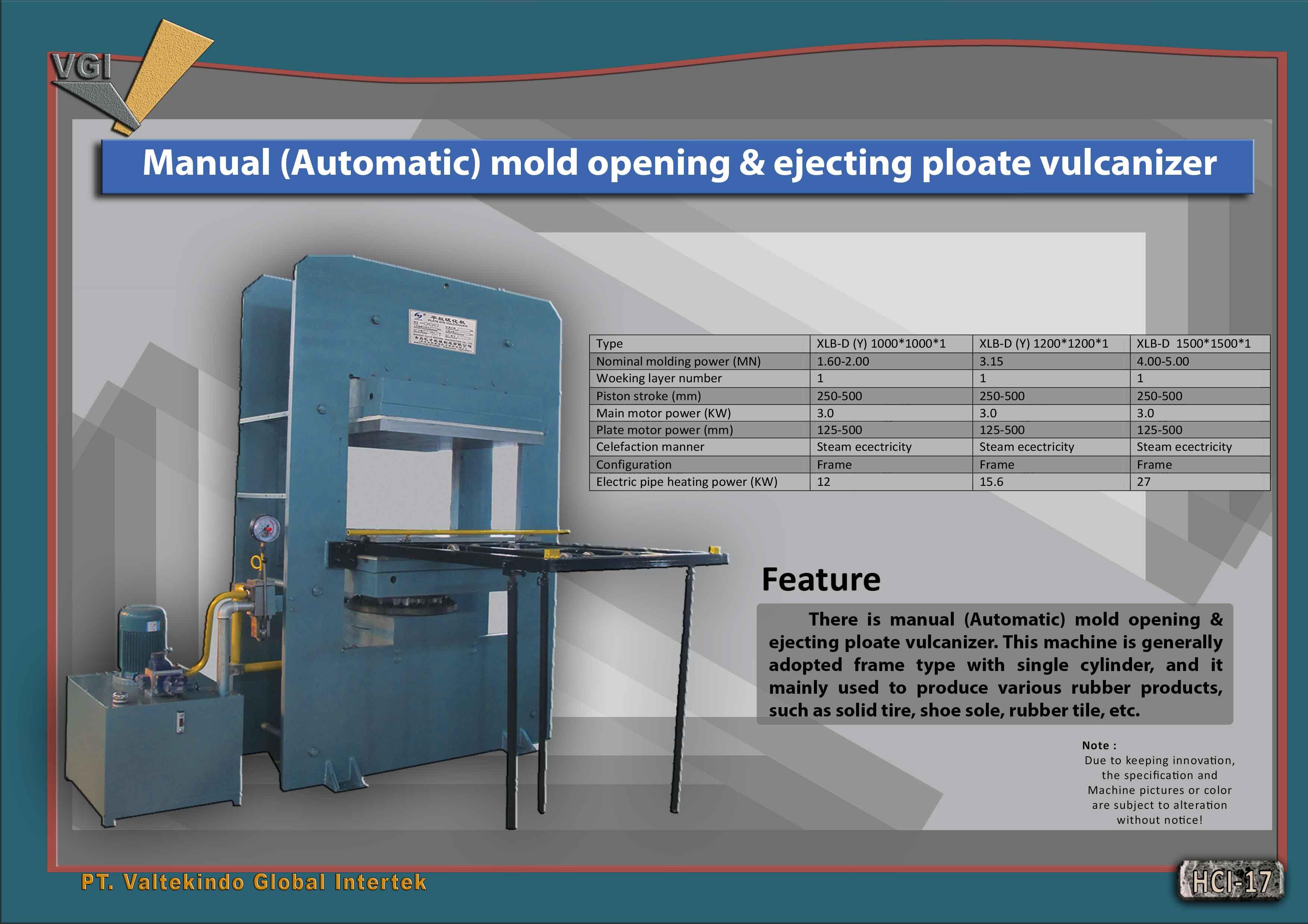 jual mesin Manual (Automatic) mold vulcanizer Manual (Automatic) mold vulcanizer