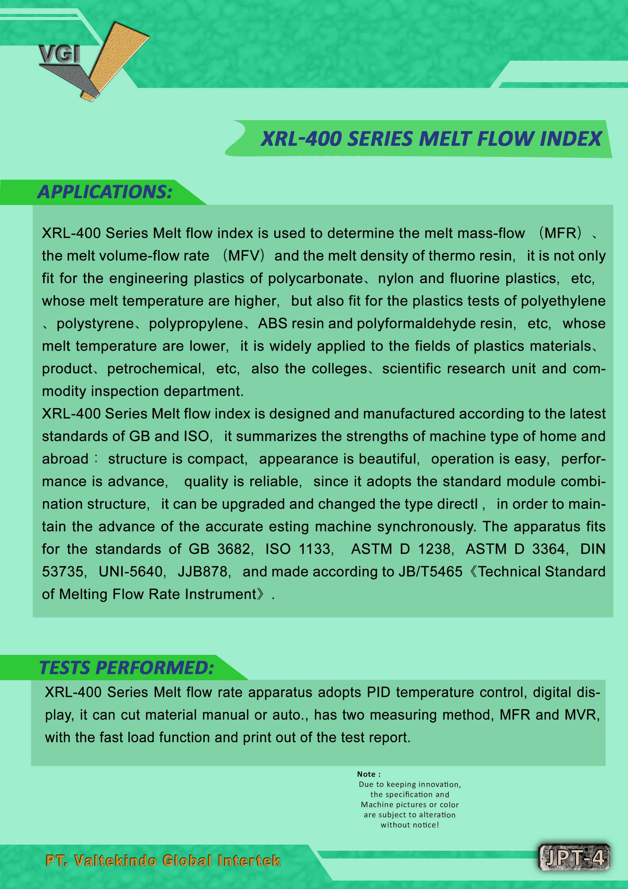 jual mesin Melt Flow Index Melt Flow Index