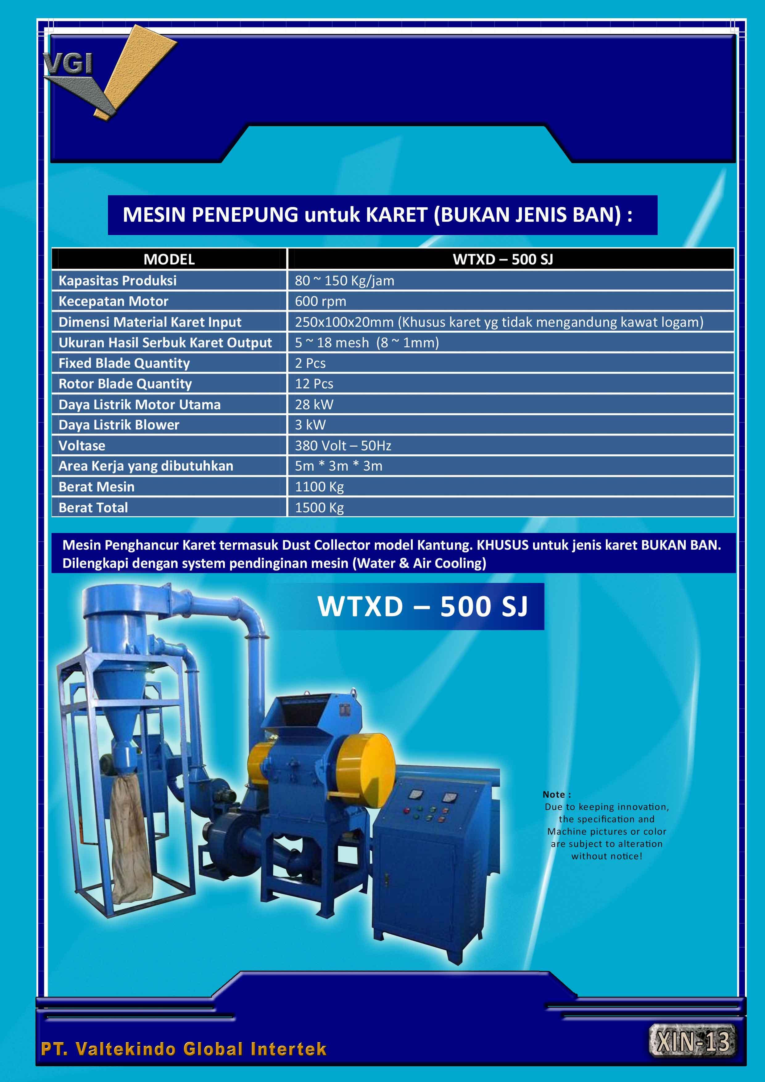 jual mesin, harga mesin, distributor mesin, jual mesin karet, daur ulang plastik Mesin Penepung Karet (Bukan Jenis Ban) Mesin Penepung Karet (Bukan Jenis Ban)