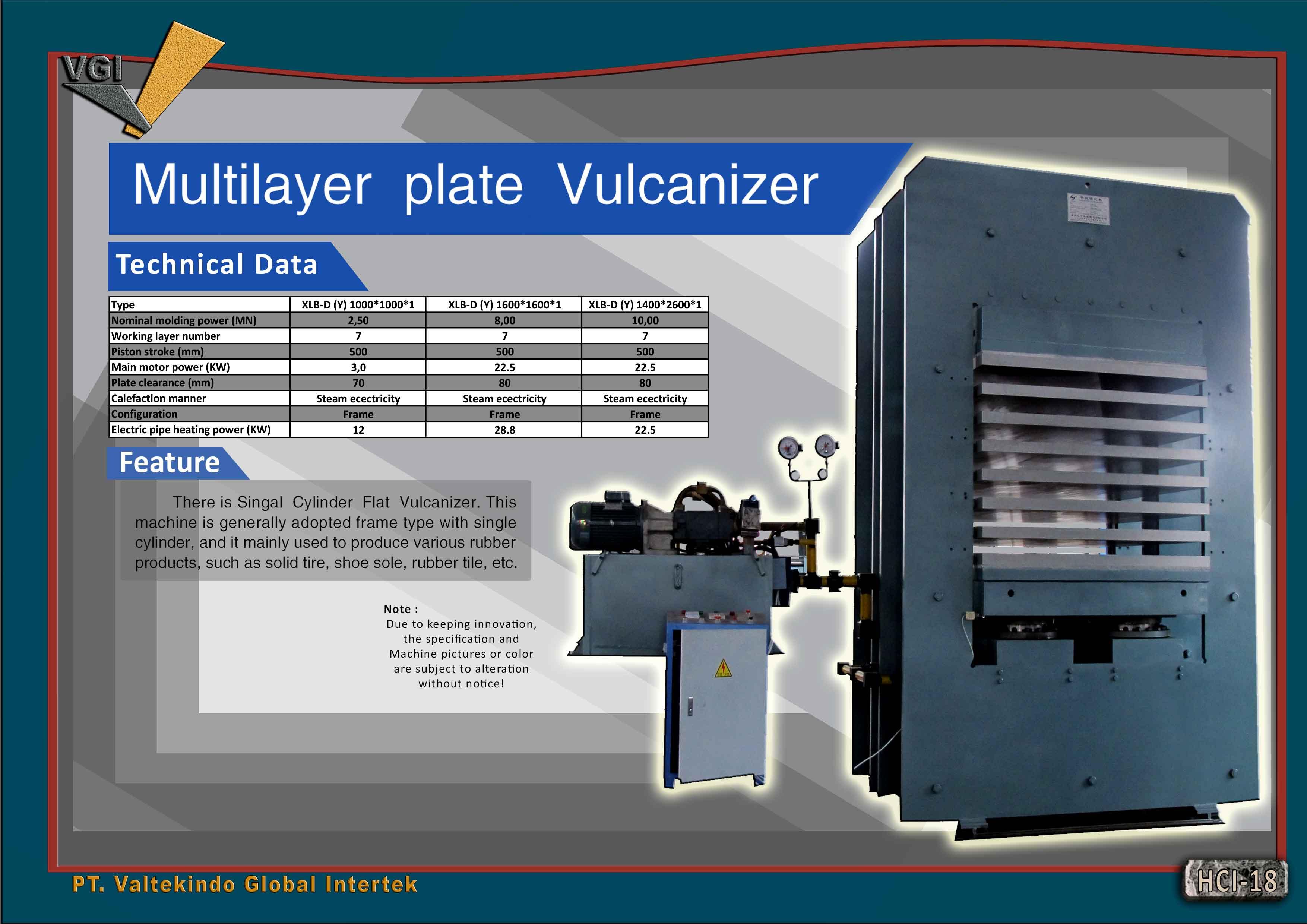 jual mesin Multilayer Plate Vulcanizer Multilayer Plate Vulcanizer