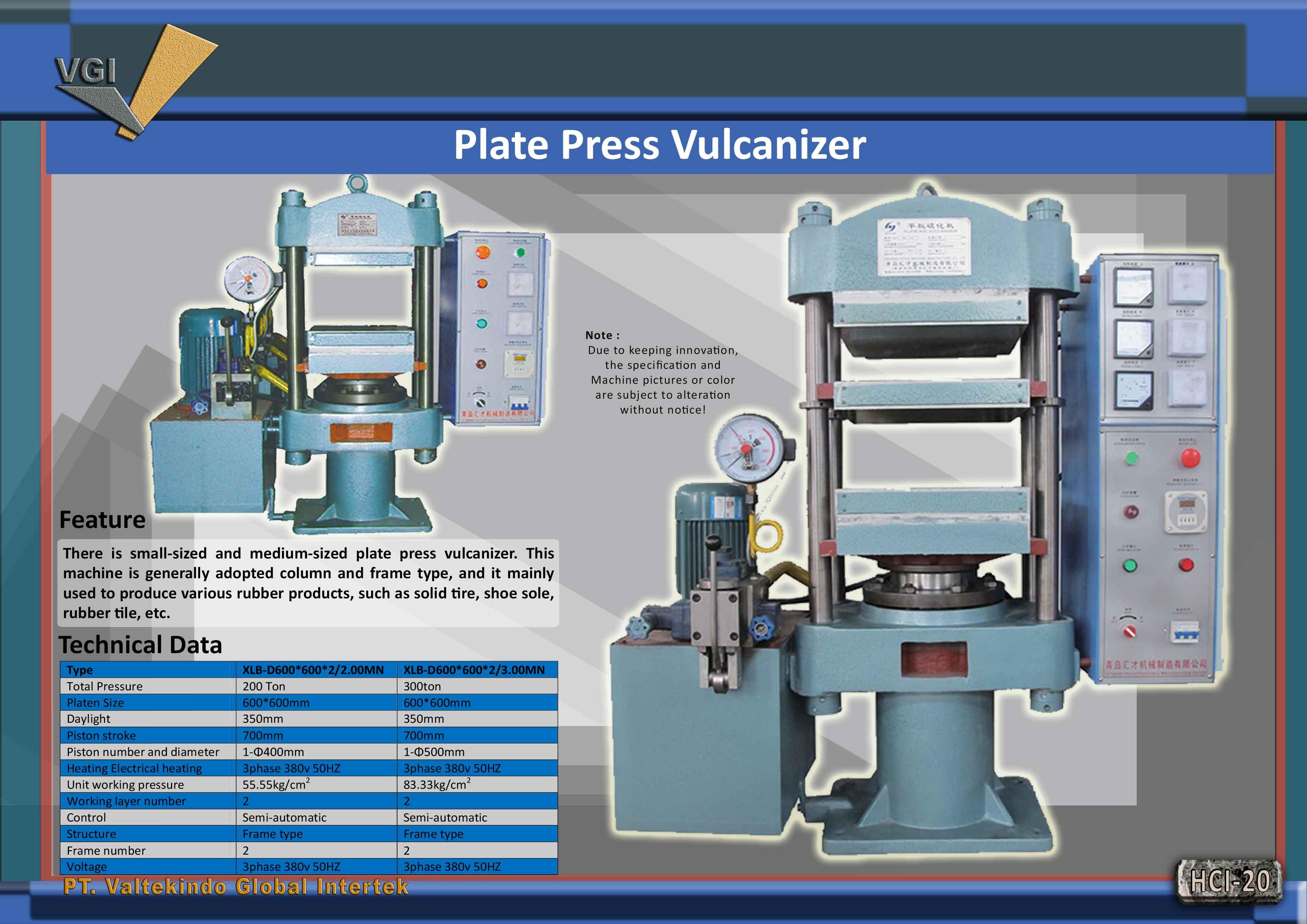 jual mesin PLATE PRESS VULCANIZER PLATE PRESS VULCANIZER