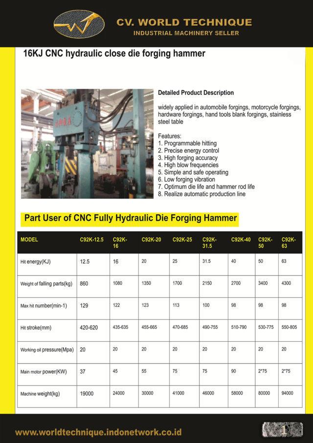 jual mesin PLC CNC Forging Press PLC CNC Forging Press