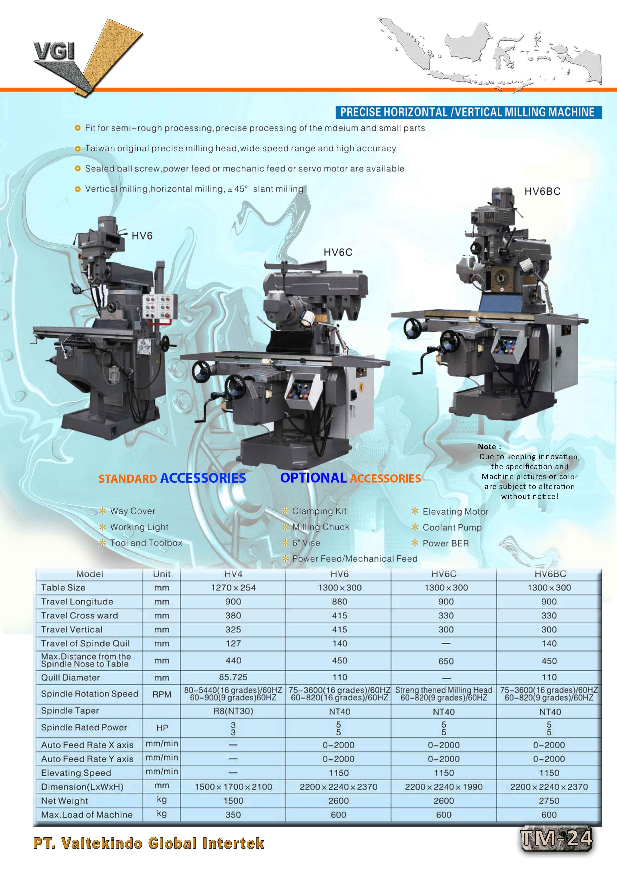 jual mesin Precise Horizontal / Vertical Milling Machine