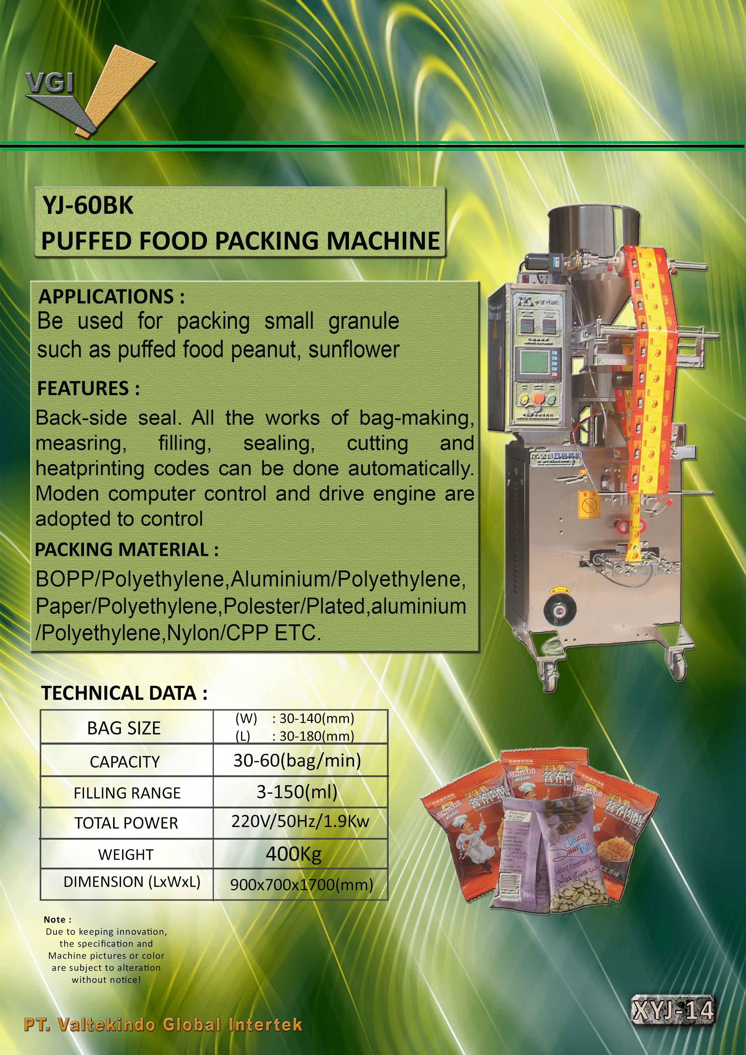 jual mesin Puffed Food Packing Machine Puffed Food Packing Machine