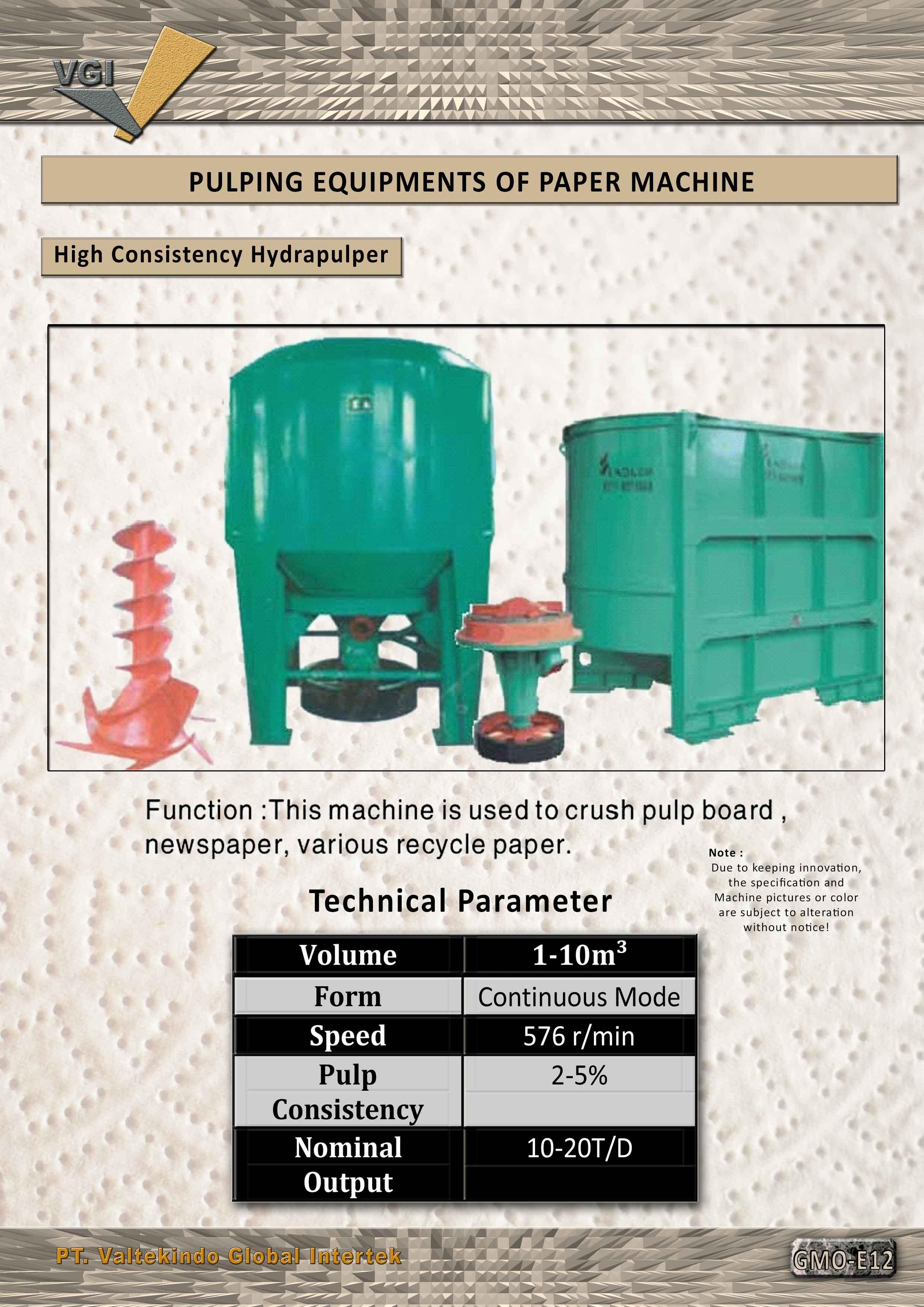 jual mesin Pulping equipment of paper machine (High consistency hydrapulper)  Pulping equipment of paper machine (High consistency hydrapulper)
