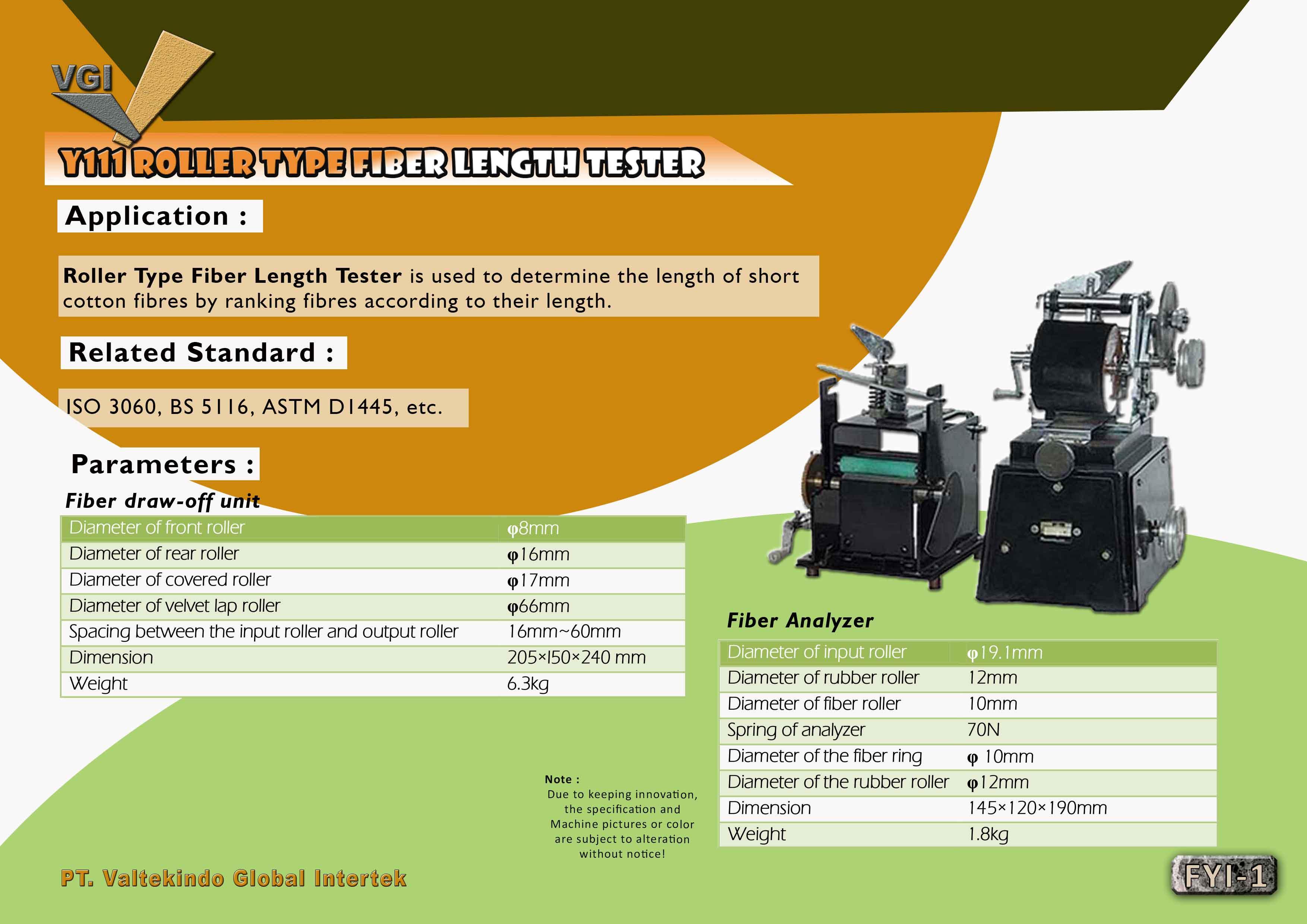 jual mesin Roller Type Fiber Length Tester  Roller Type Fiber Length Tester