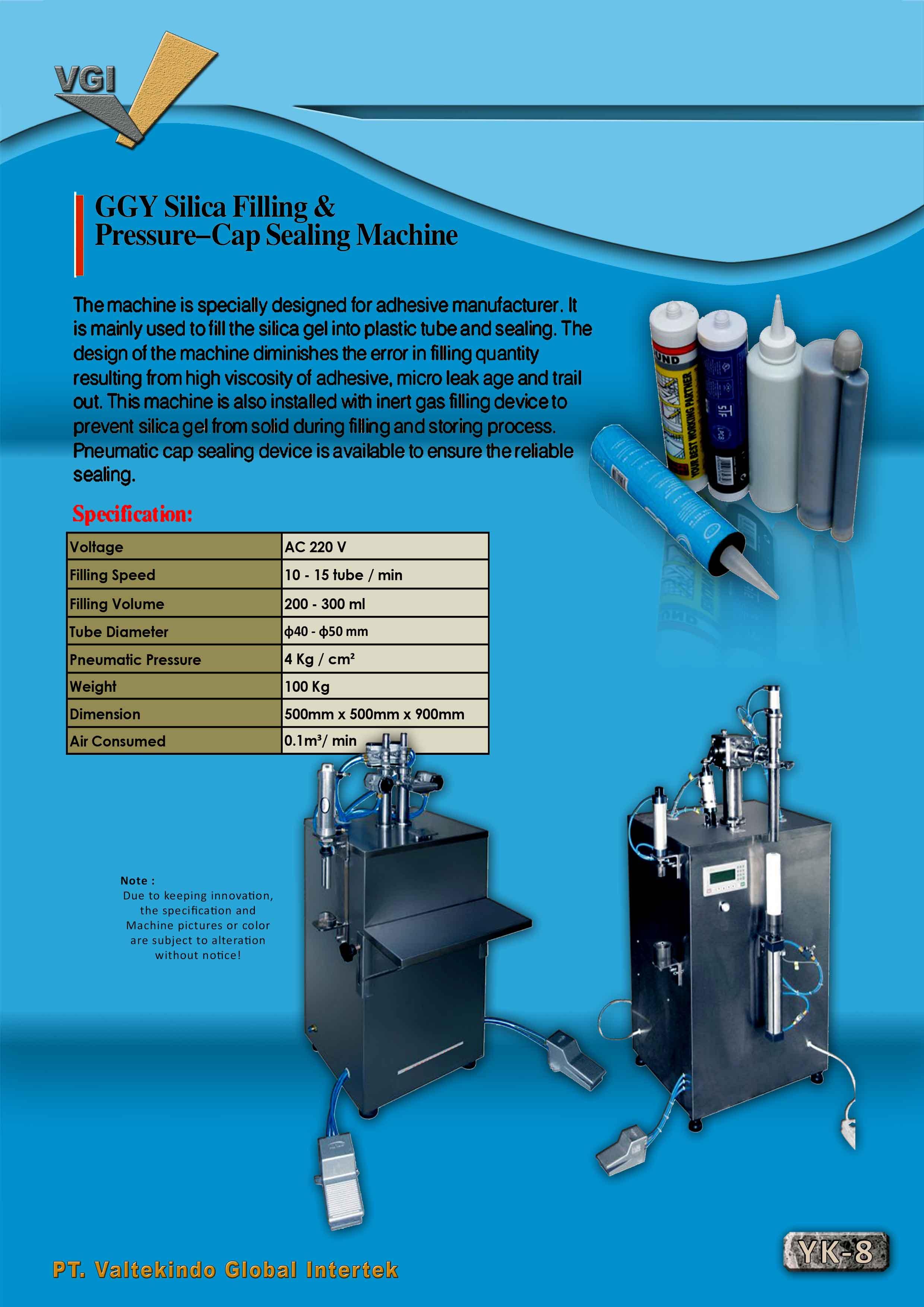 jual mesin Silica Filling &  Pressure Cap Sealing Machine Silica Filling &  Pressure Cap Sealing Machine