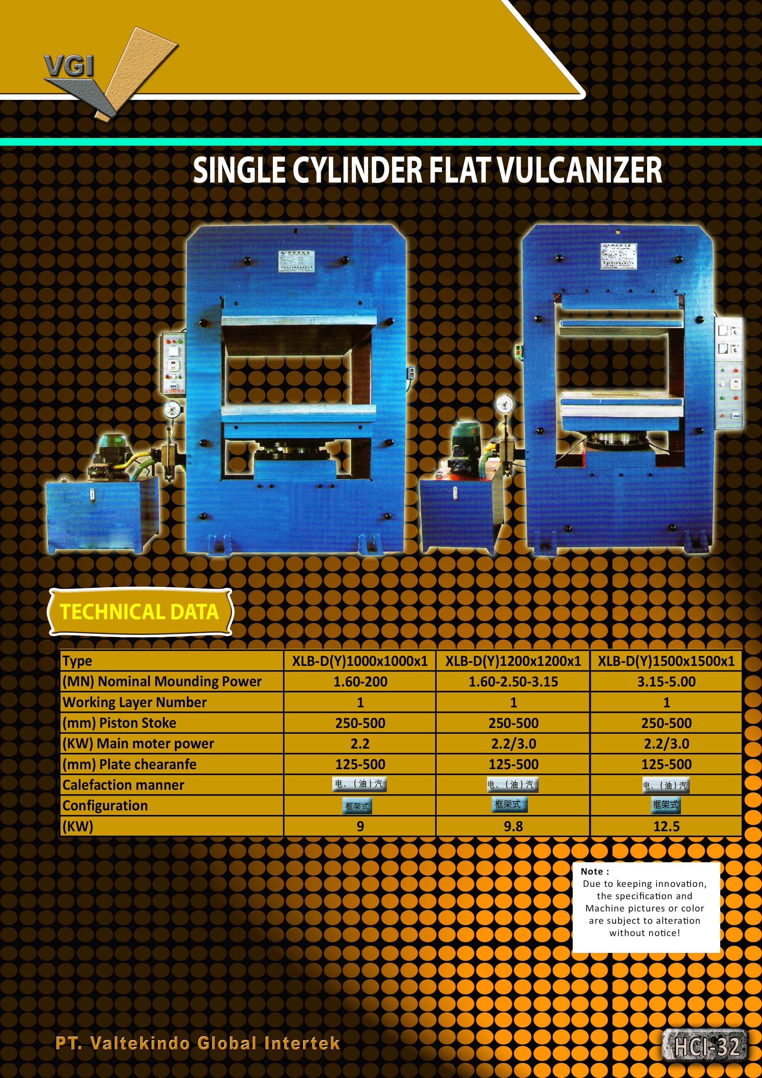 jual mesin Single Cylinder Flat Vulcanizer Single Cylinder Flat Vulcanizer