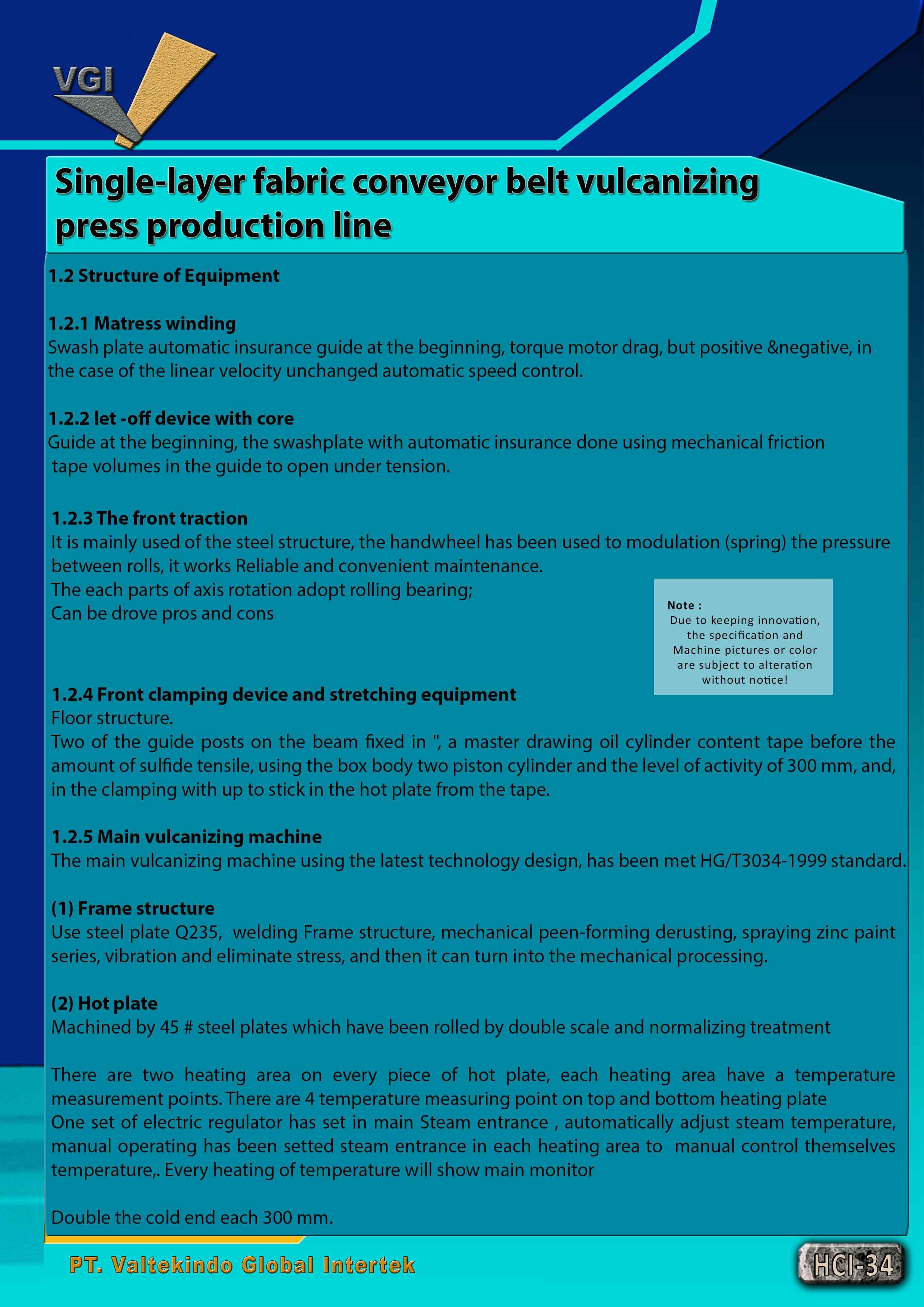 jual mesin Single-layer fabric conveyor belt vulcanizing press production line 3 Single-layer fabric conveyor belt vulcanizing press production line 3