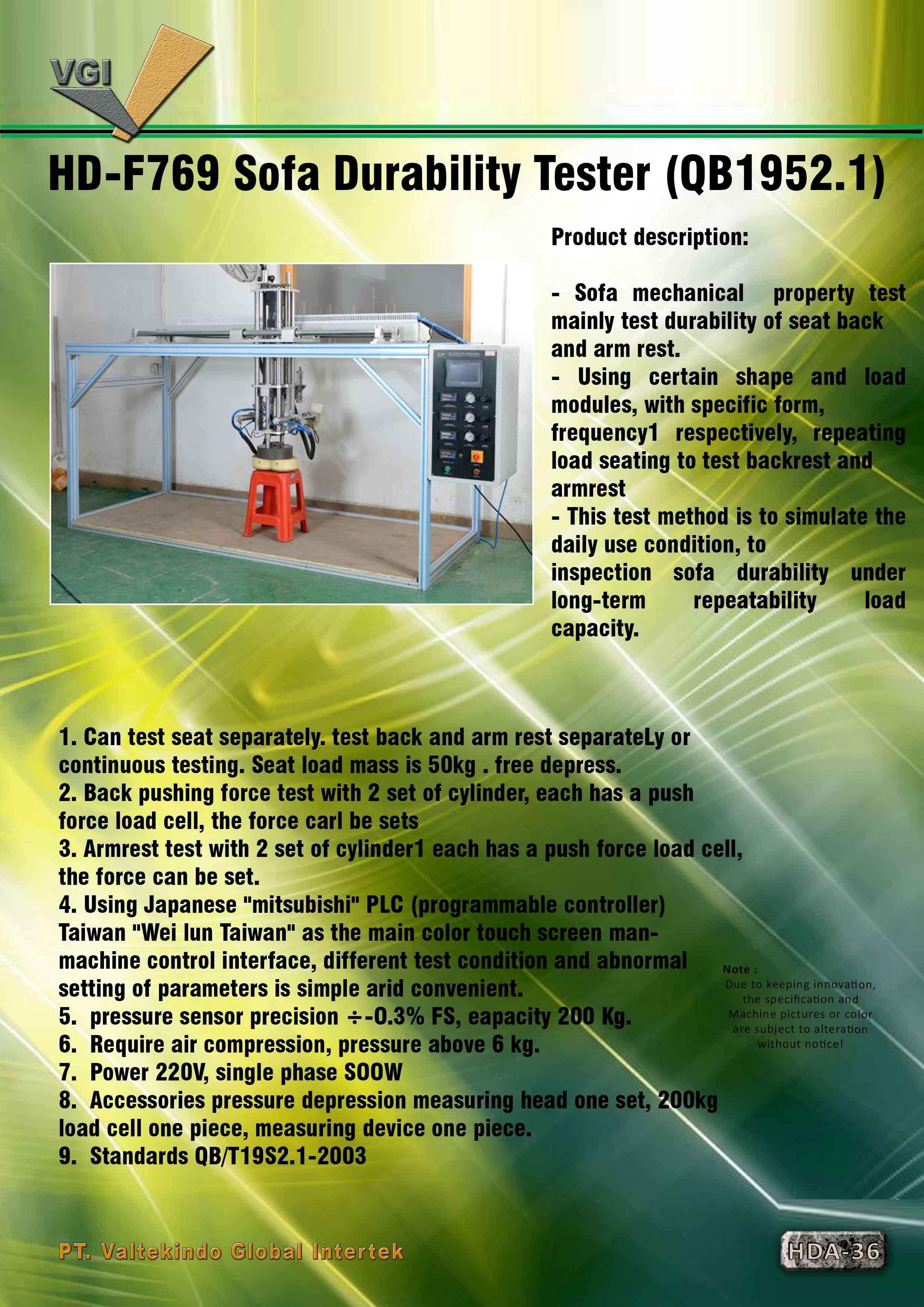 jual mesin Sofa Durability Tester  Sofa Durability Tester