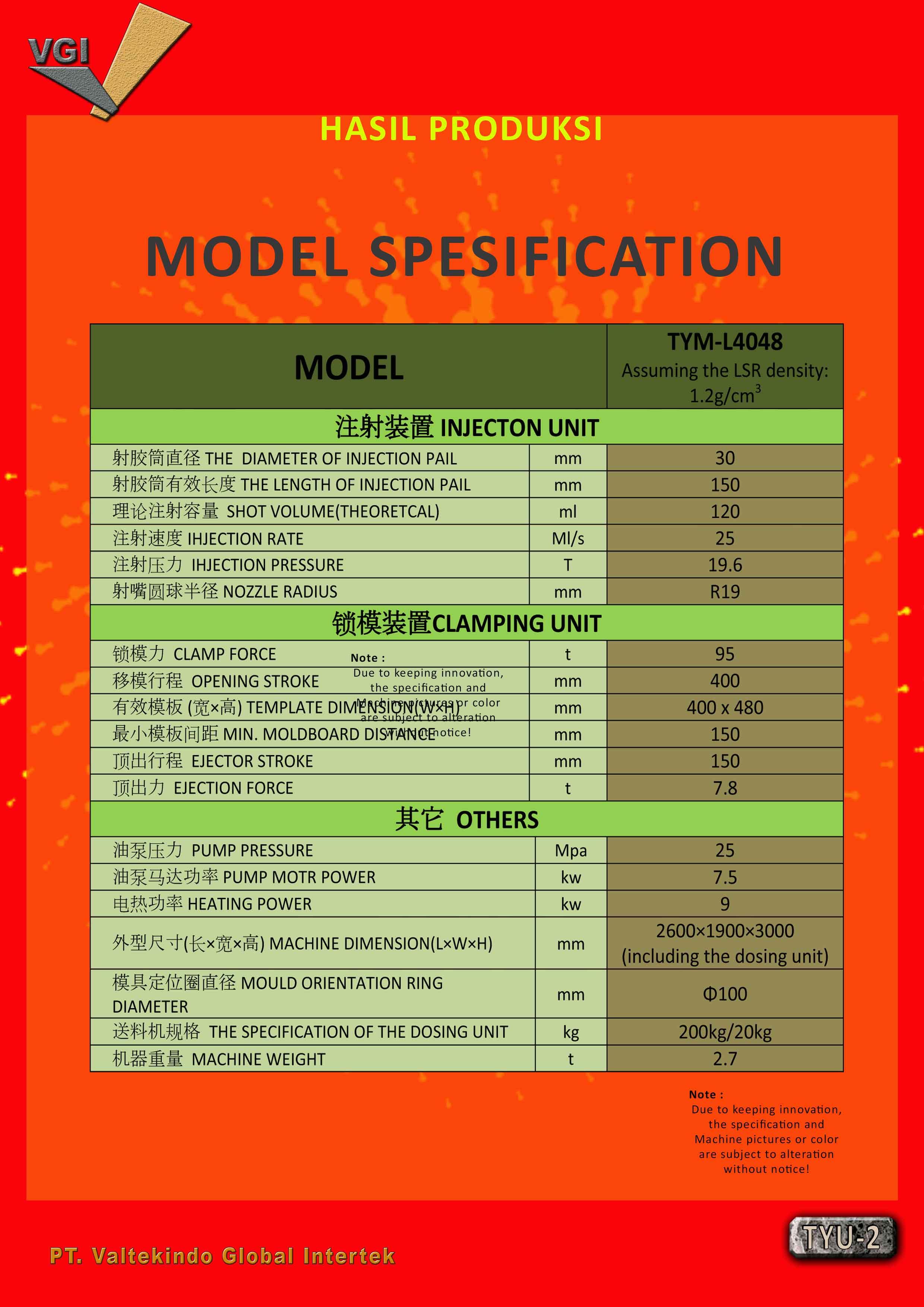 jual mesin Specification Vertical LSR injection Molding Specification Vertical LSR injection Molding