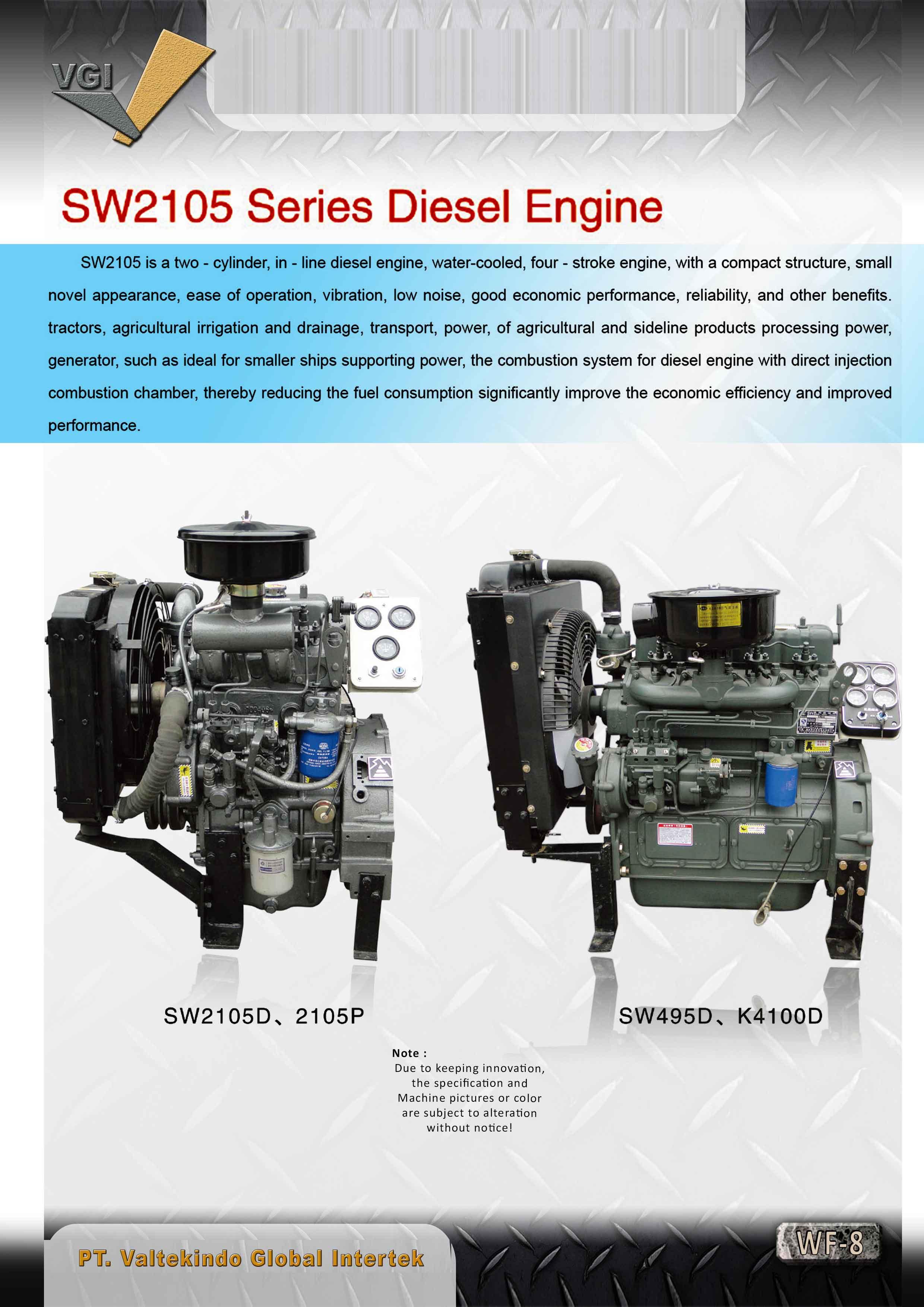 jual mesin, harga mesin, distributor mesin, jual mesin karet, daur ulang plastik SW2105 Series Diesel Engine SW2105 Series Diesel Engine