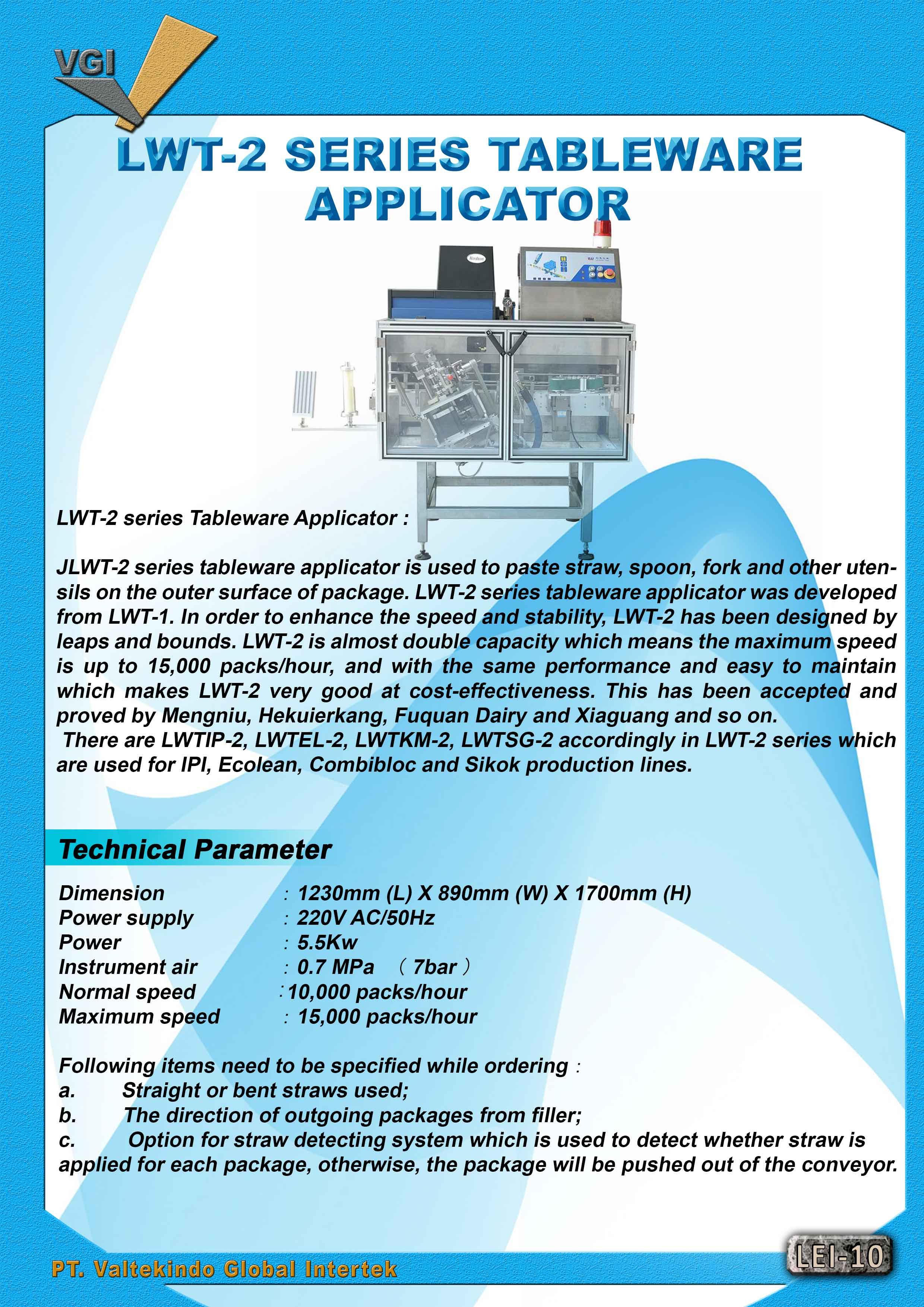 jual mesin Tableware Applicator Tableware Applicator
