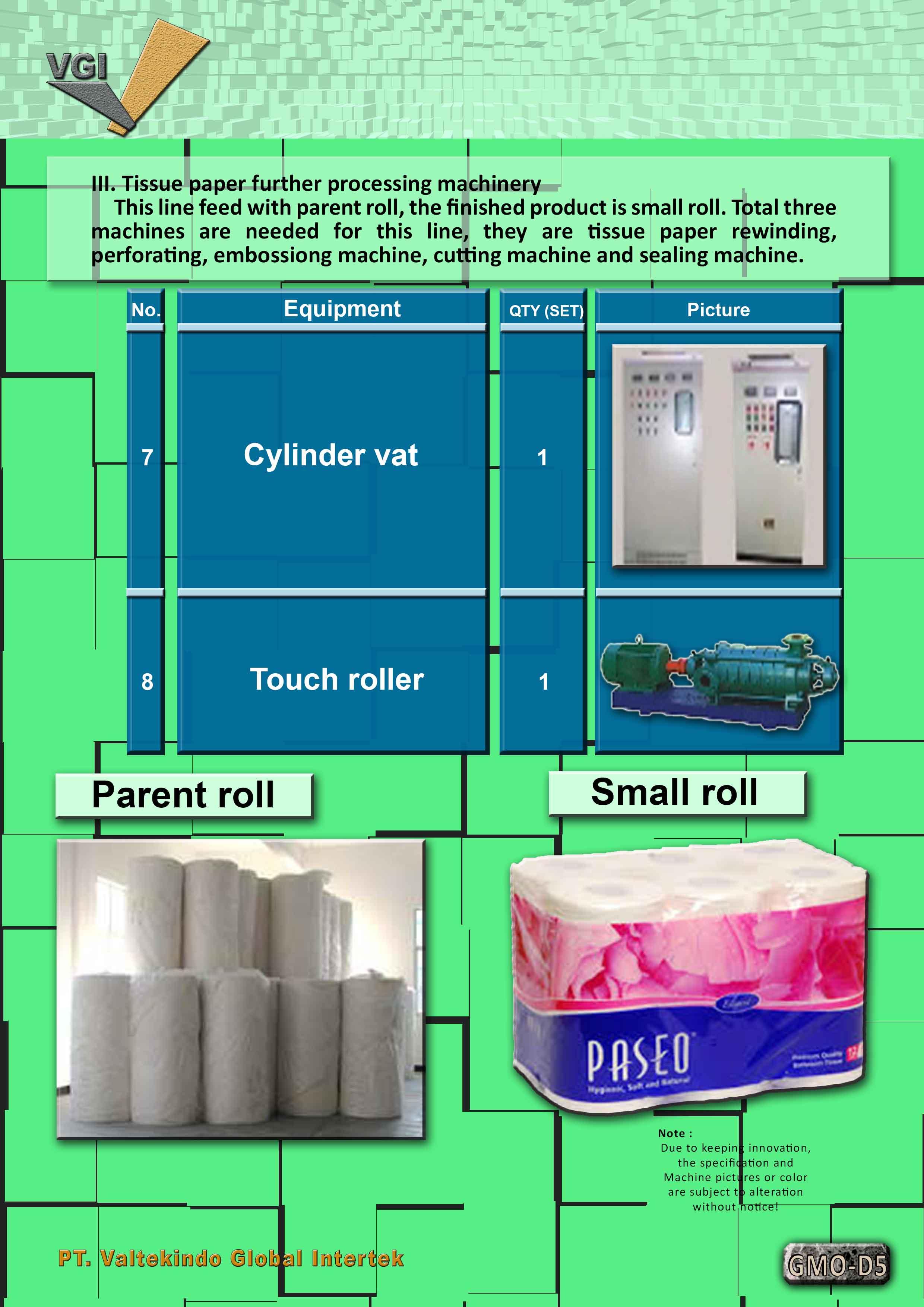 jual mesin Tissue Paper making line 5 Tissue Paper making line 5