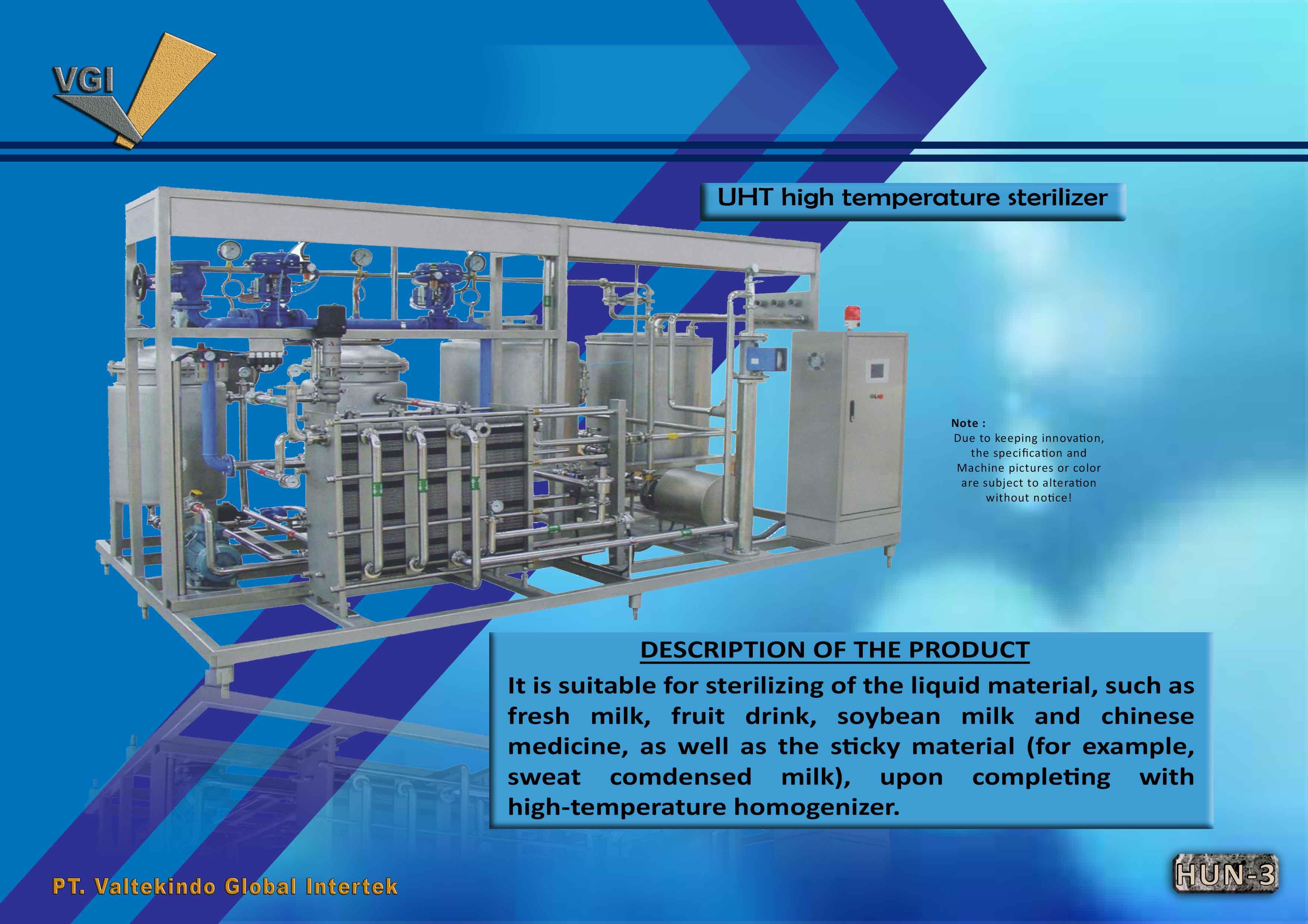 jual mesin UHT sterilizer UHT sterilizer