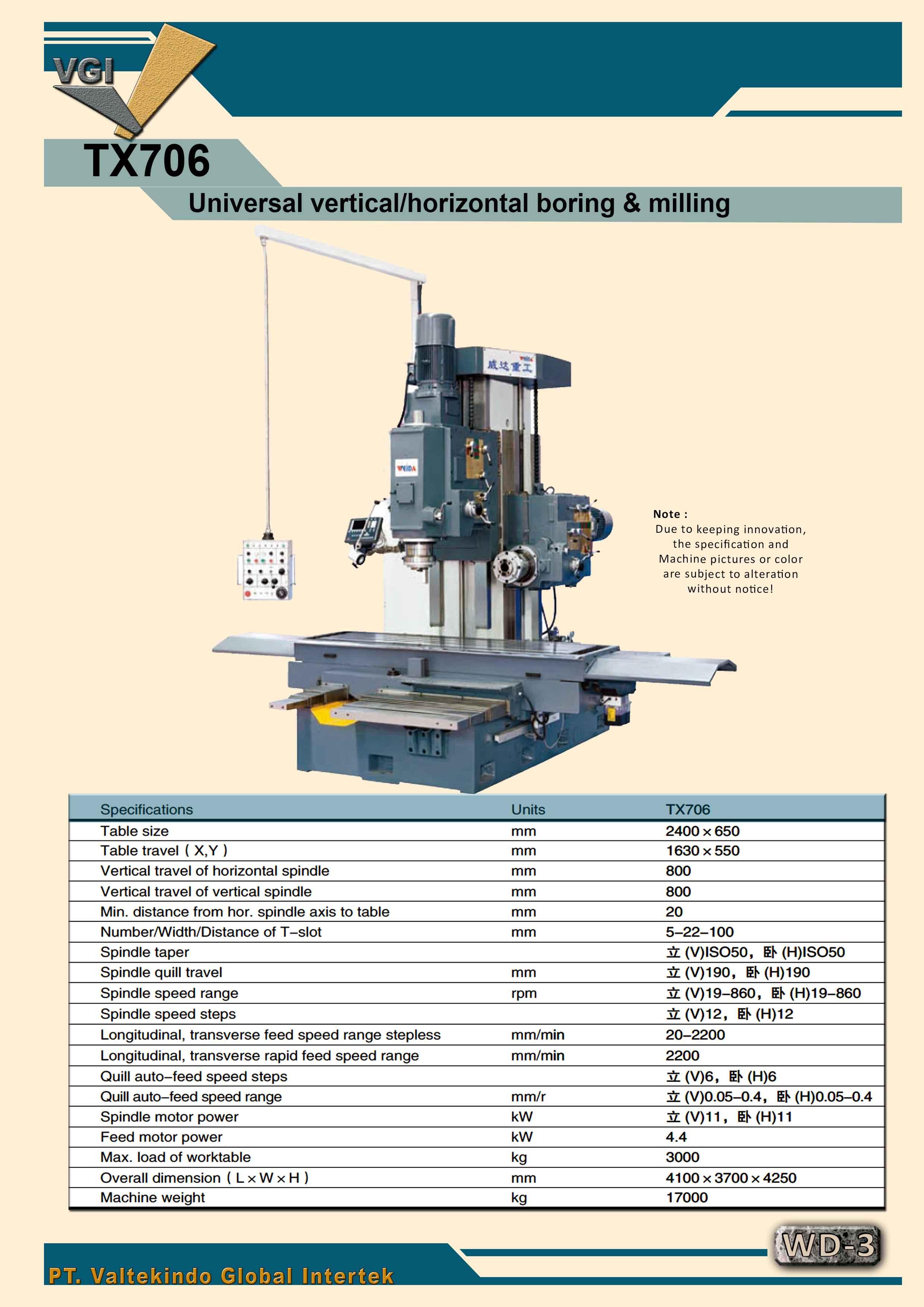 jual mesin Universal Vertical/ Horizontal Boring & Milling  Universal Vertical/ Horizontal Boring & Milling