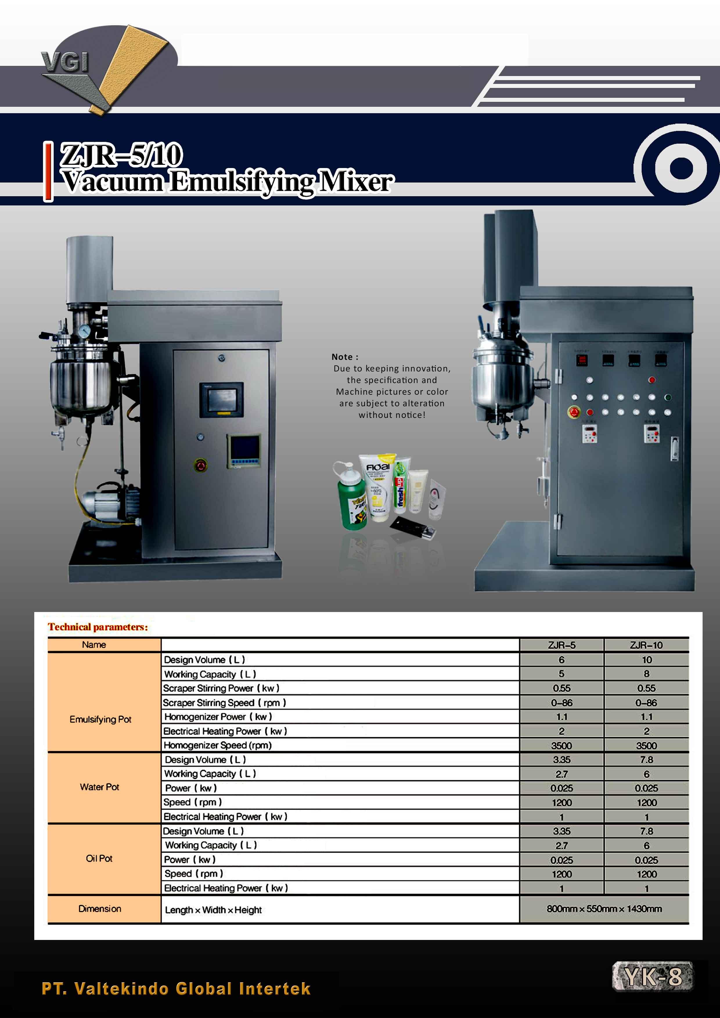 jual mesin, harga mesin, distributor mesin, jual mesin karet, daur ulang plastik Vacuum Emulsifying Mixer Vacuum Emulsifying Mixer